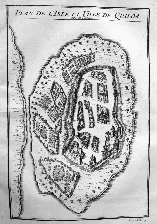 """Plan de l'Isle et Ville de Quiloa"""": Bellin, Jacques-Nicolas:"""