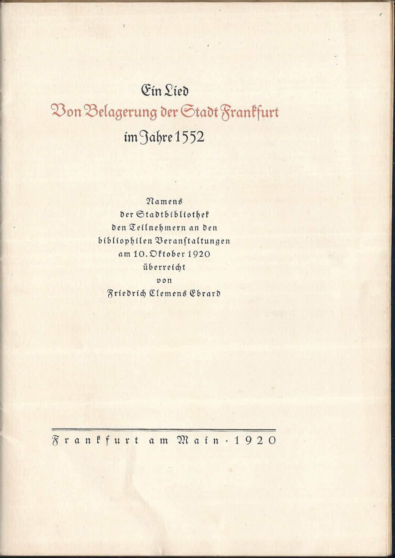 Ein Lied Von Belagerung der Stadt Frankfurt: EBRARD, Friedrich Clement: