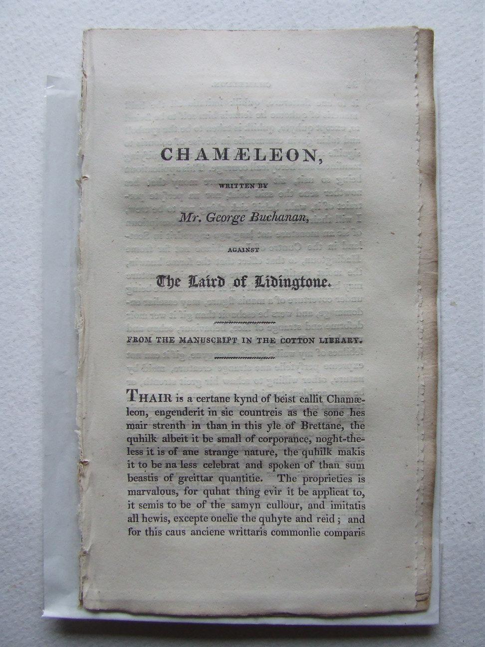 Chamaeleon, written by Mr. George Buchanan, against: Buchanan, George
