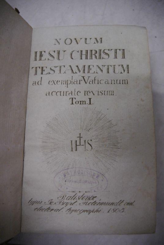 Novum Iesu Christi Testamentum. ad exemplar Vaticanum: Biblia],
