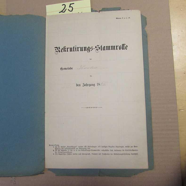 Rekrutierungs-Stammrolle der Gemeinde Kucha, Jahrgang 1864: Königreich Bayern: