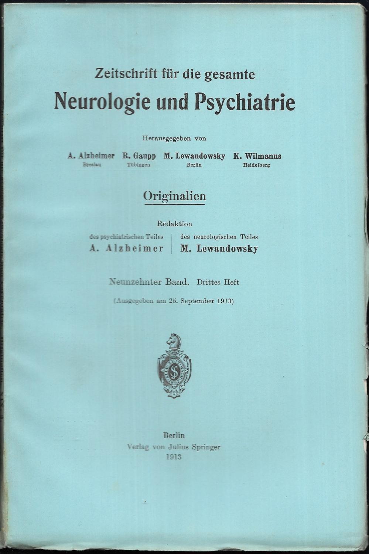 Zeitschrift für die gesamte Neurologie und Psychiatrie.: ALZHEIMER, A. /
