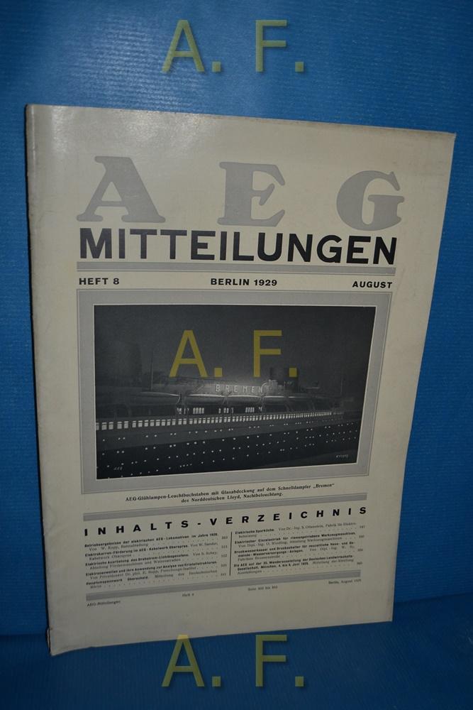 AEG Mitteilungen, Heft 8, August, Berlin 1929.: Wiener, F.: