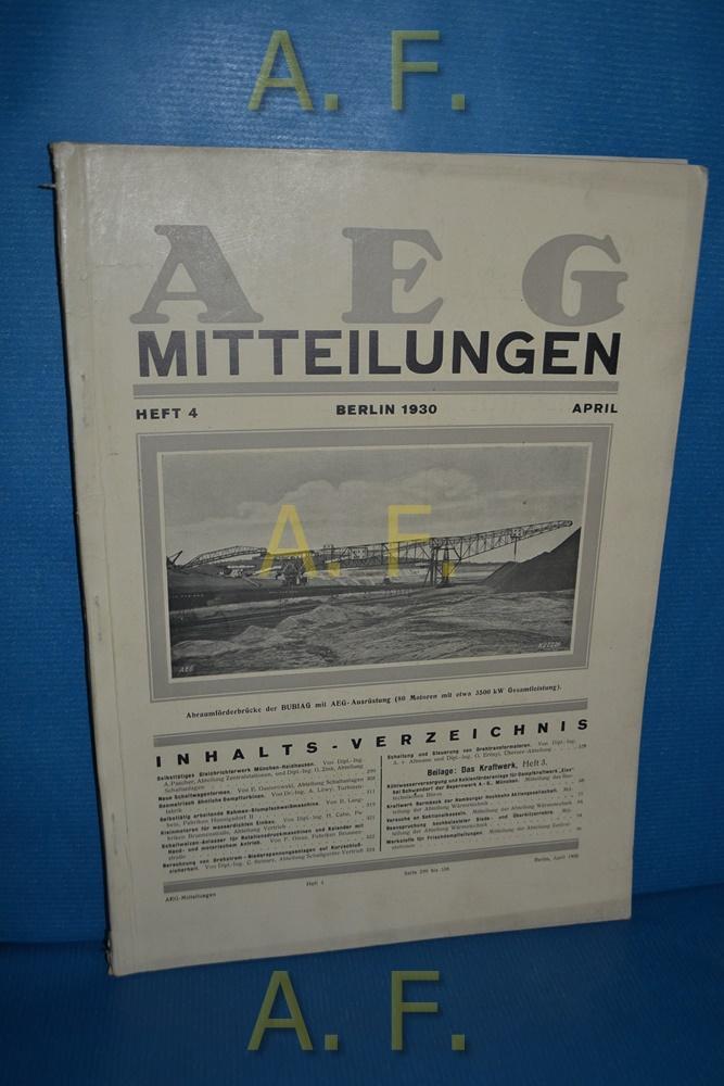 AEG Mitteilungen, Heft 4, April, Berlin 1930.: Wiener, F.: