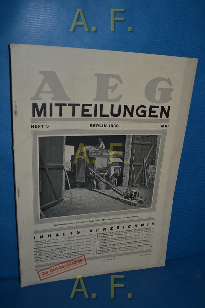 AEG Mitteilungen, Heft 5, Mai, Berlin 1930.: Wiener, F.: