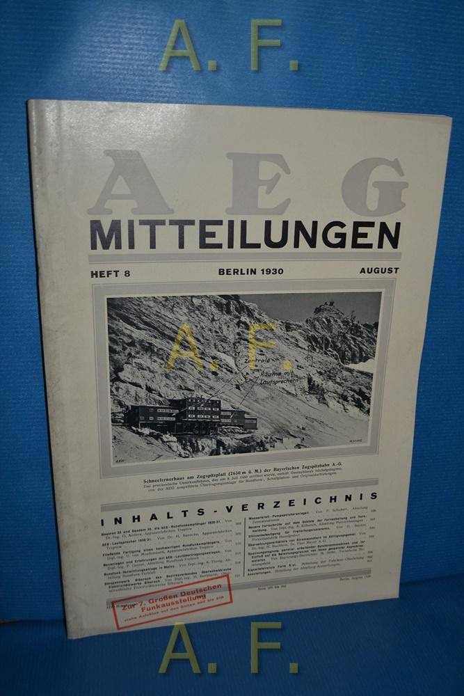 AEG Mitteilungen, Heft 8, August, Berlin 1930.: Wiener, F.: