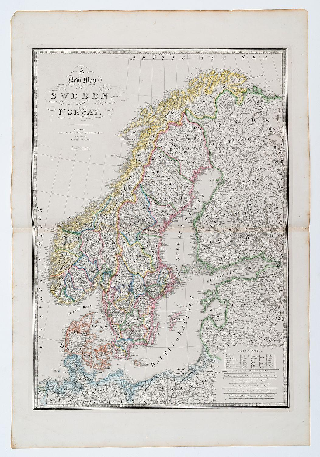A New Map of Sweden and Norway.: WYLD, James.