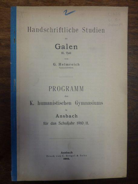 Handschriftliche Studien zu Galen - II. Teil,: Galen / Helmreich,