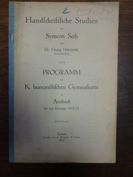 Handschriftliche Studien zu Symeon Seth,: Seth, Simeon /