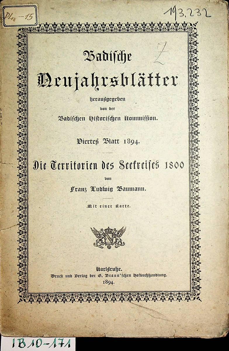 Die Territorien des Seekreises 1800 : mit: Baumann, Franz Ludwig: