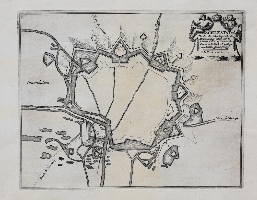 """Schlestat"""" originaler Kupferstich/copper engraving ca./approx.23x29cm auf Bütten-Papier/laid: Schlettstadt:"""
