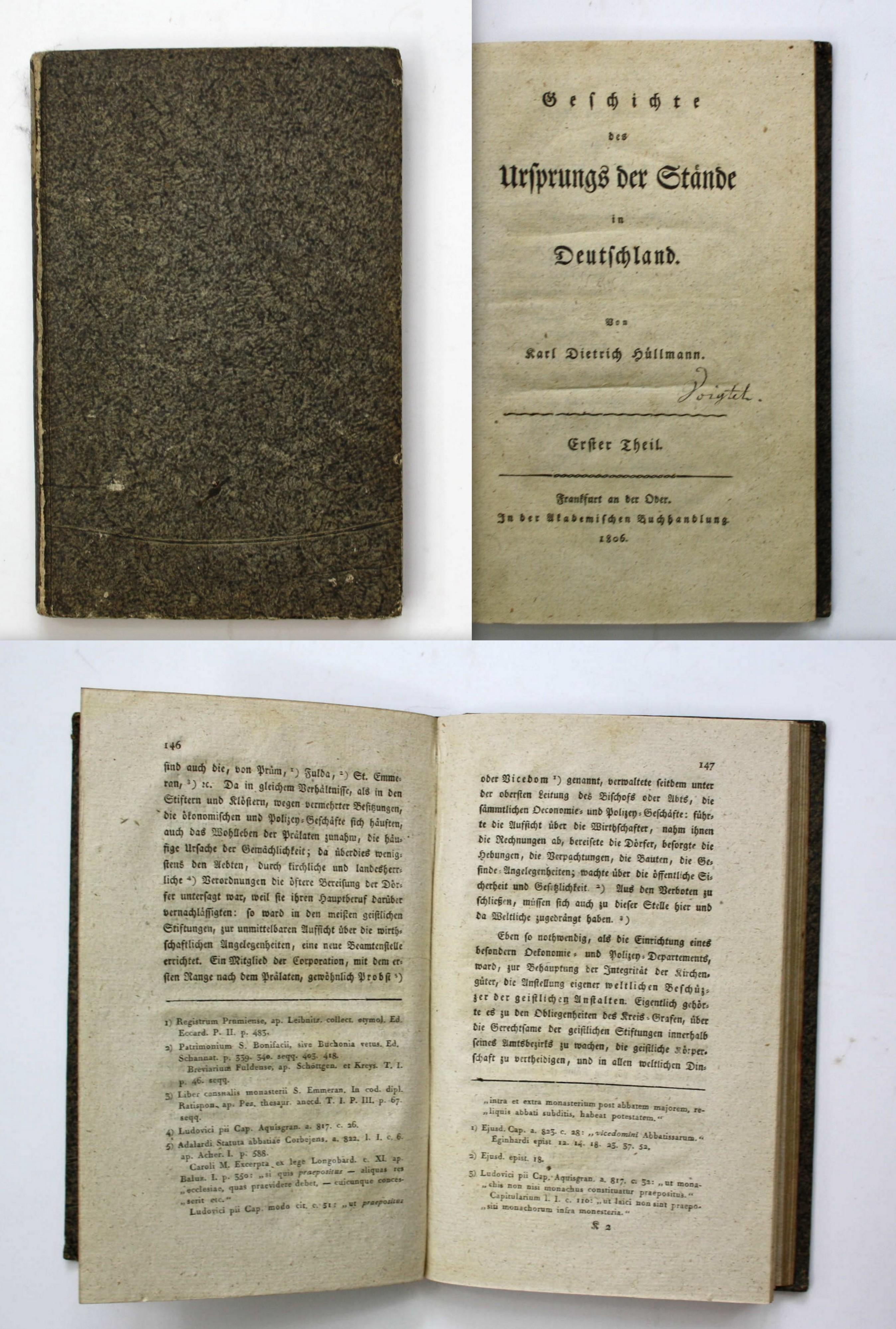 Geschichte des Ursprungs der Stände in Deutschland.: Hüllmann, Karl Dietrich: