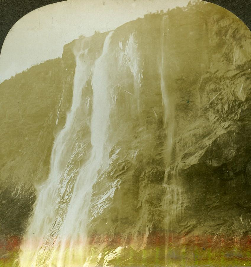 Norway Fjord Geiranger Waterfall Seven Sisters Stereoview: William H. RAU