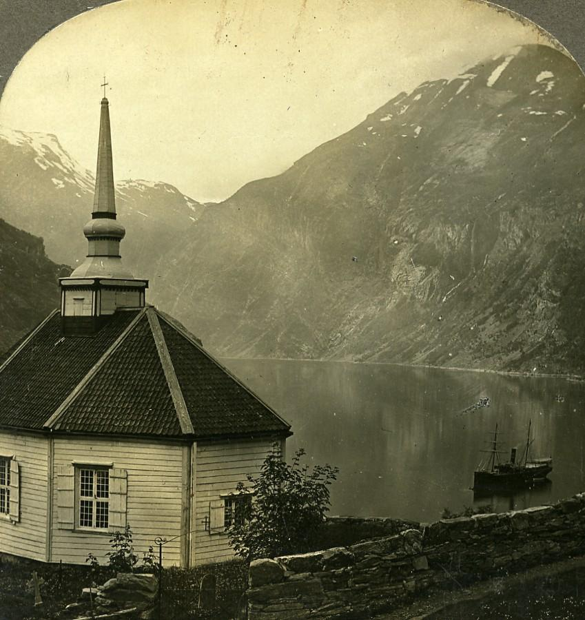 Norway Fjord Geiranger Merok Little Church Old: William H. RAU