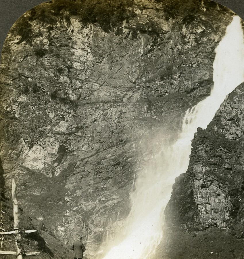 Norway Stalheim Cascade Waterfall Old Stereoview Photo: William H. RAU