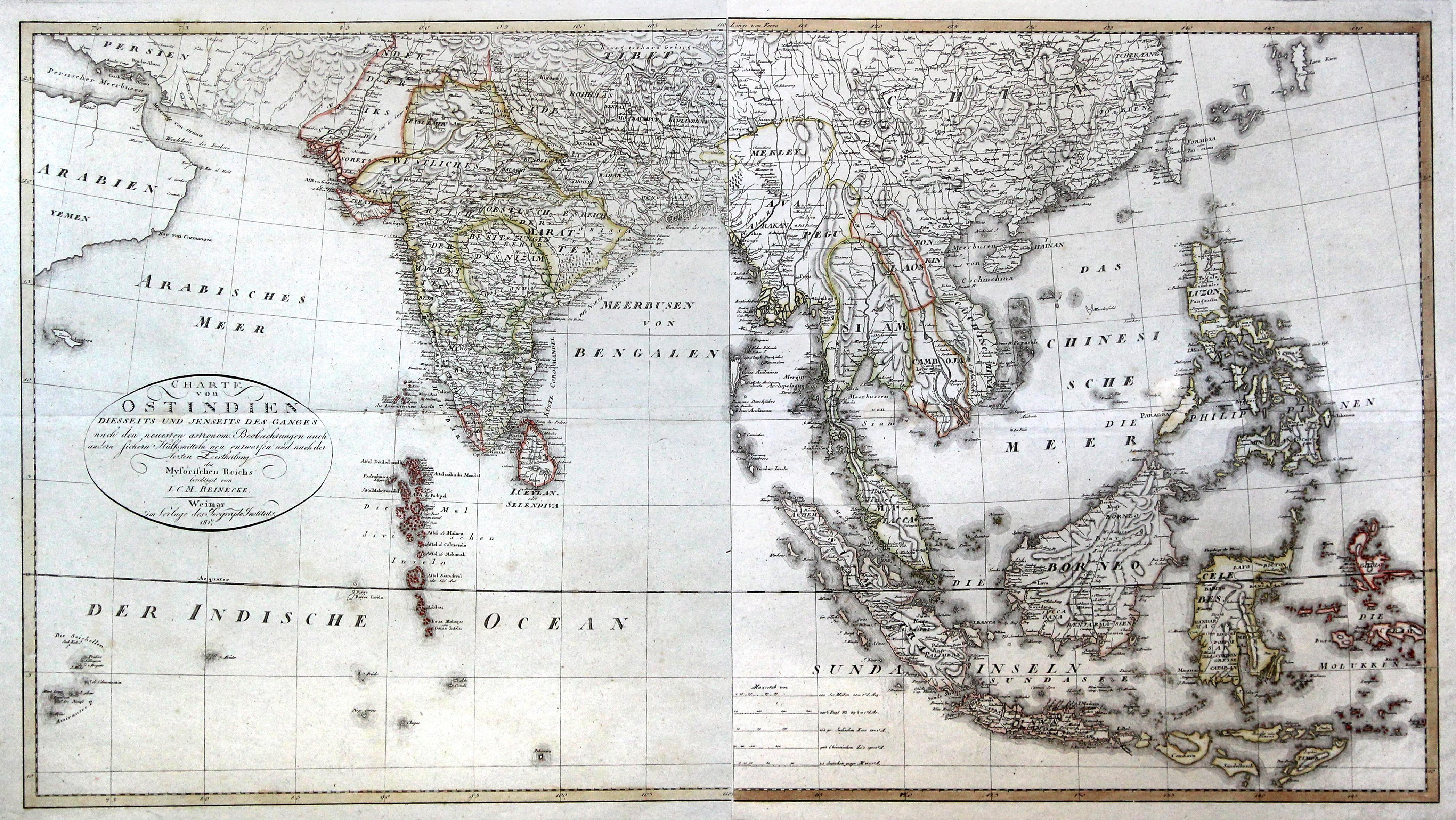Kst.- Karte, bestehend aus 2 zusammensetzbaren Blättern: Indien - Südostasien