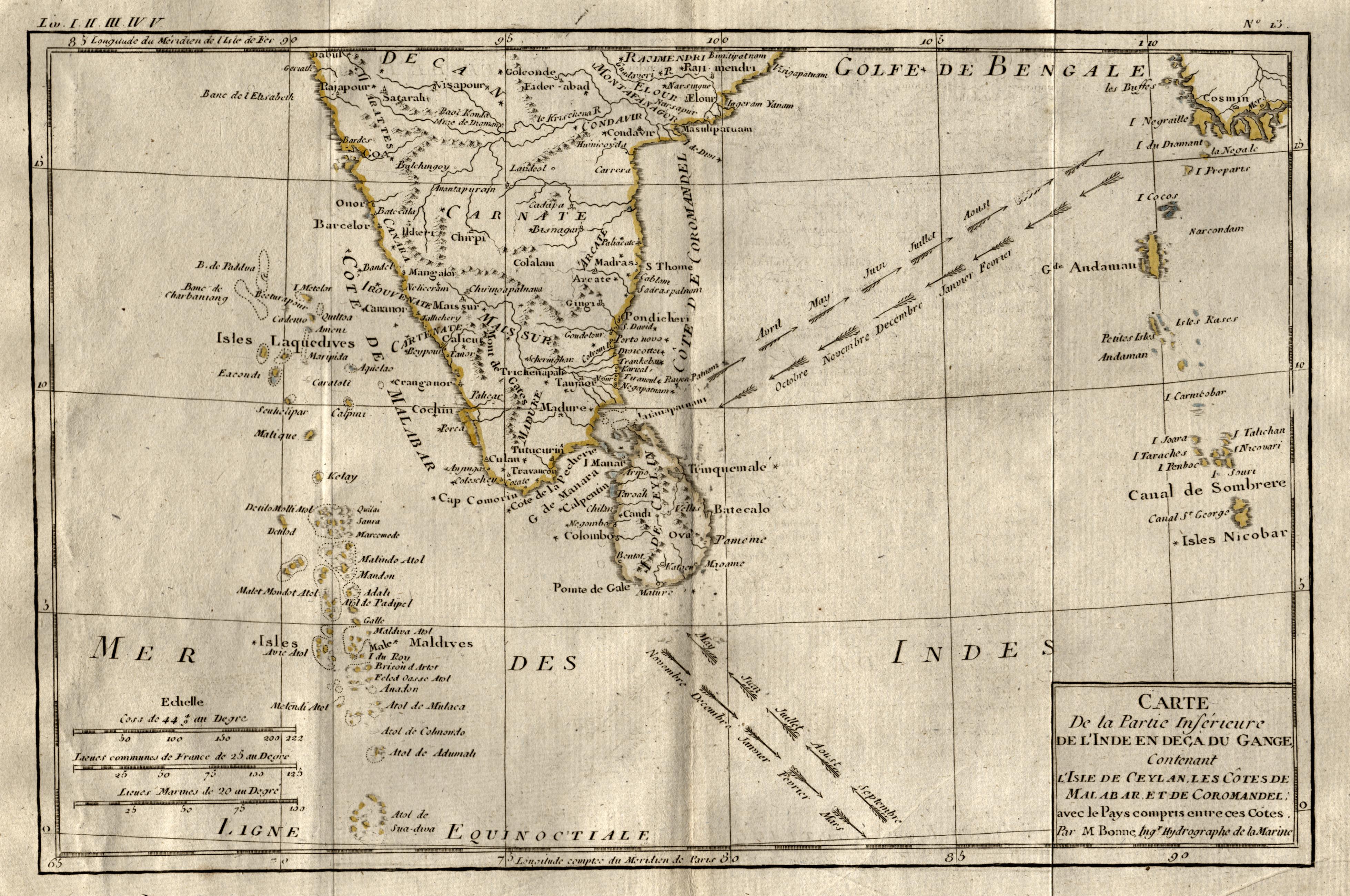 """Kst.- Karte, v. R. Bonne, """"Carte de: Indien ( India"""