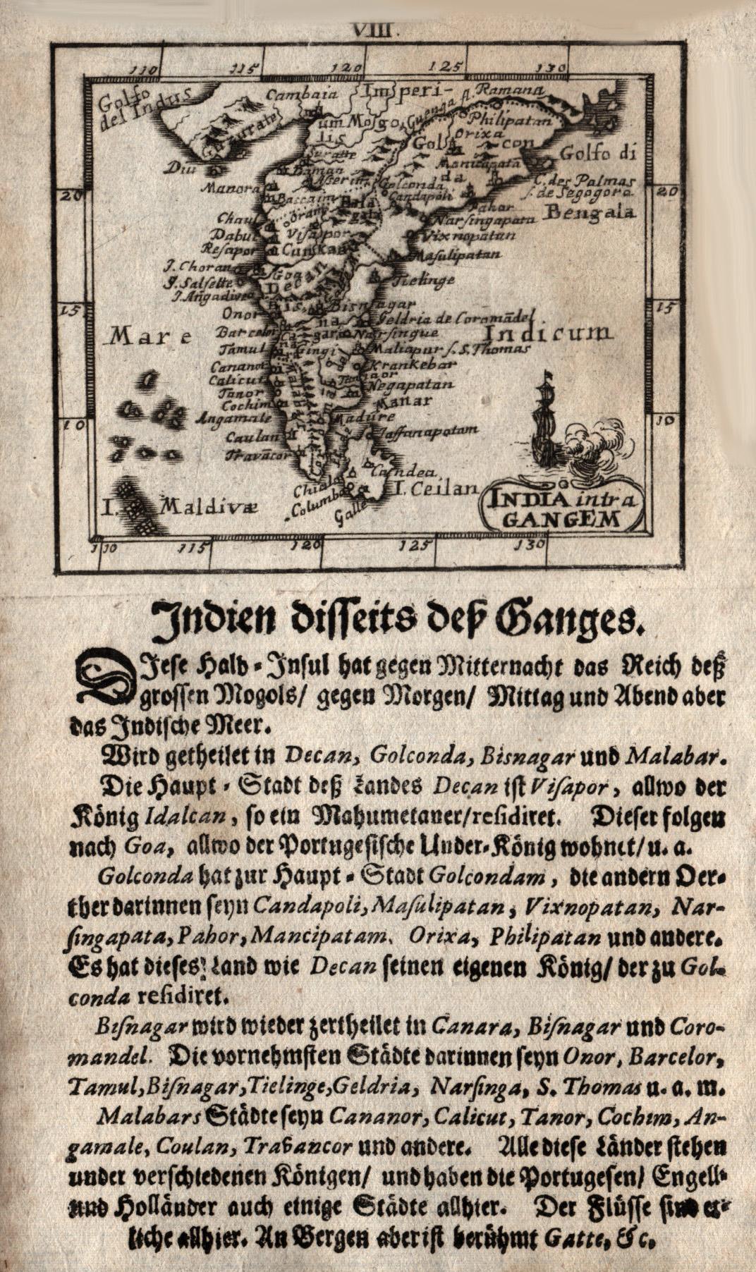 Kst.- Karte, bei Joh. Ulrich Müller in: Indien ( India