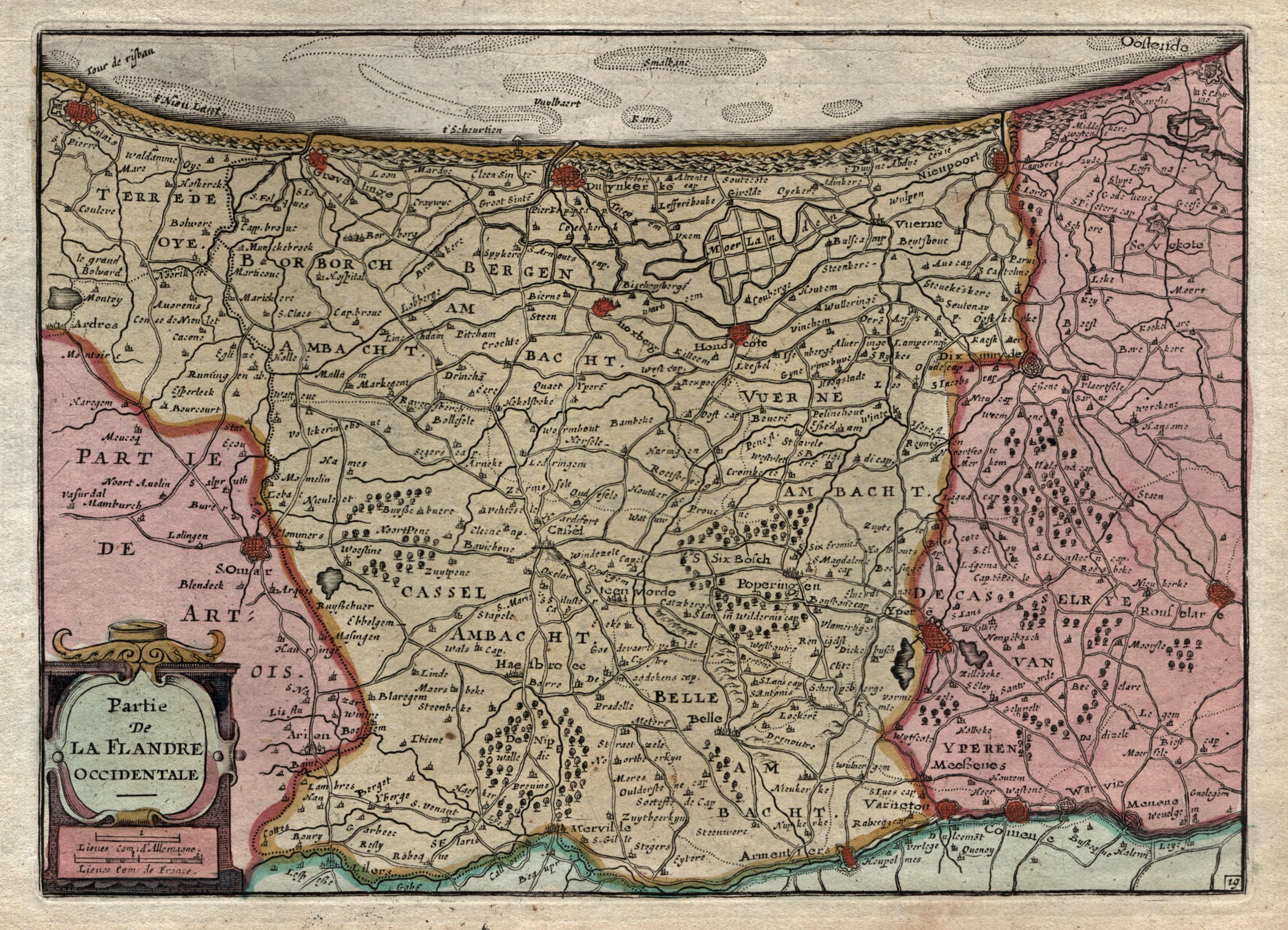 Kst.- Karte, von Daniel de la Feuille: Flandern ( Vlaanderen