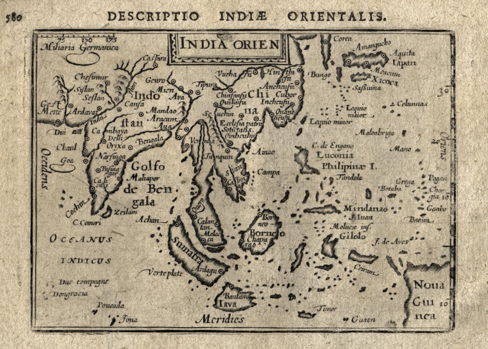 "Kst.- Karte, aus Langenes/ Bertius ""Caert Thresoor"": Indien - Südostasien"