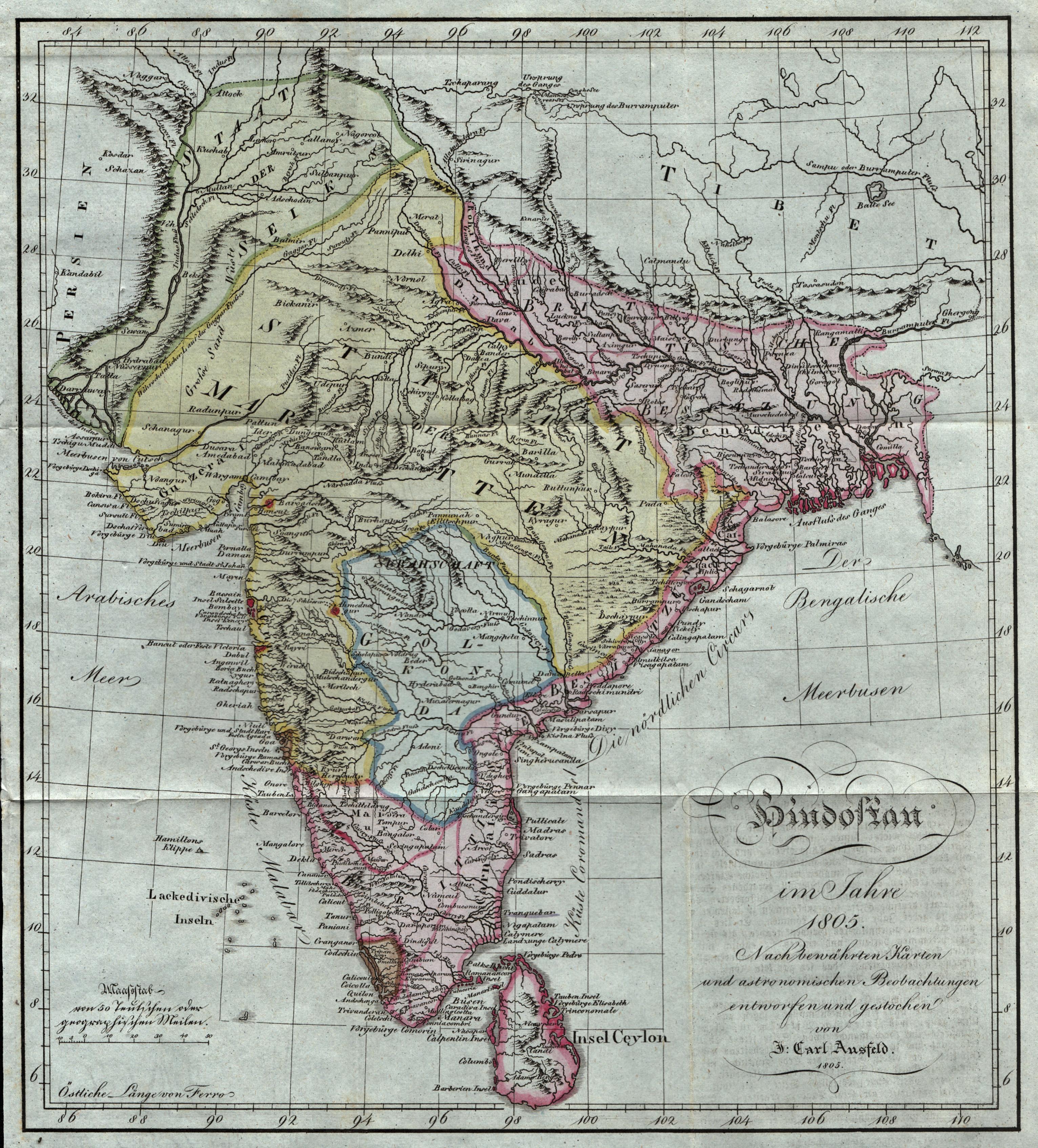 "Kst.- Karte, v. Johann Carl Ausfeld, ""Hindostan: Indien ( India"