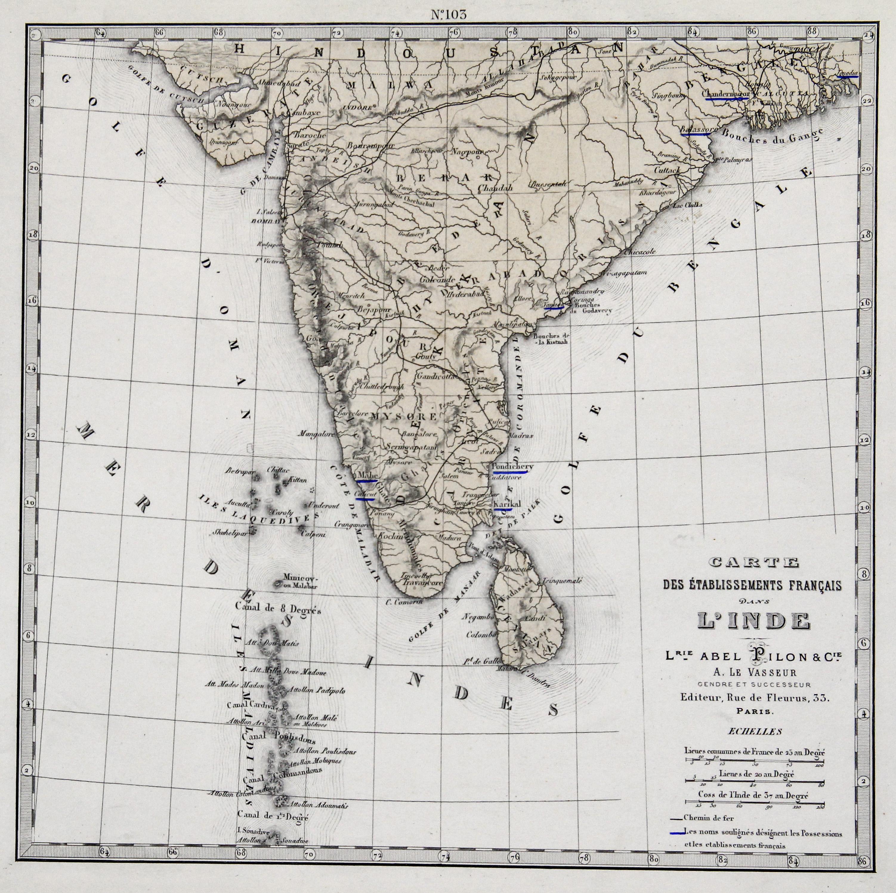 "Stst.- Karte, b. le Vasseur, ""Carte des: Indien ( India"