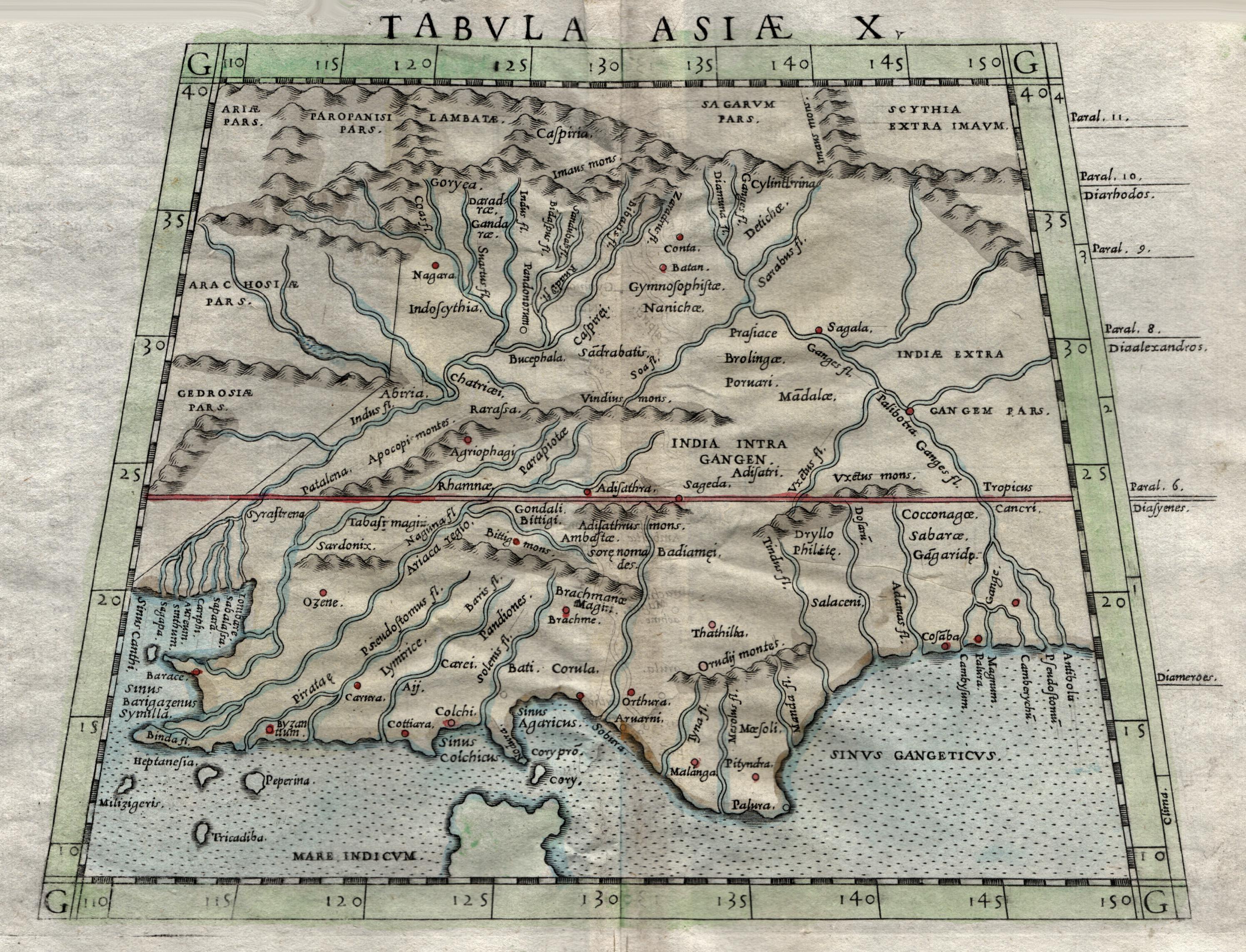 Kst.- Karte, n. Ptolemäus v. Girolamo Ruscelli,: Indien ( India