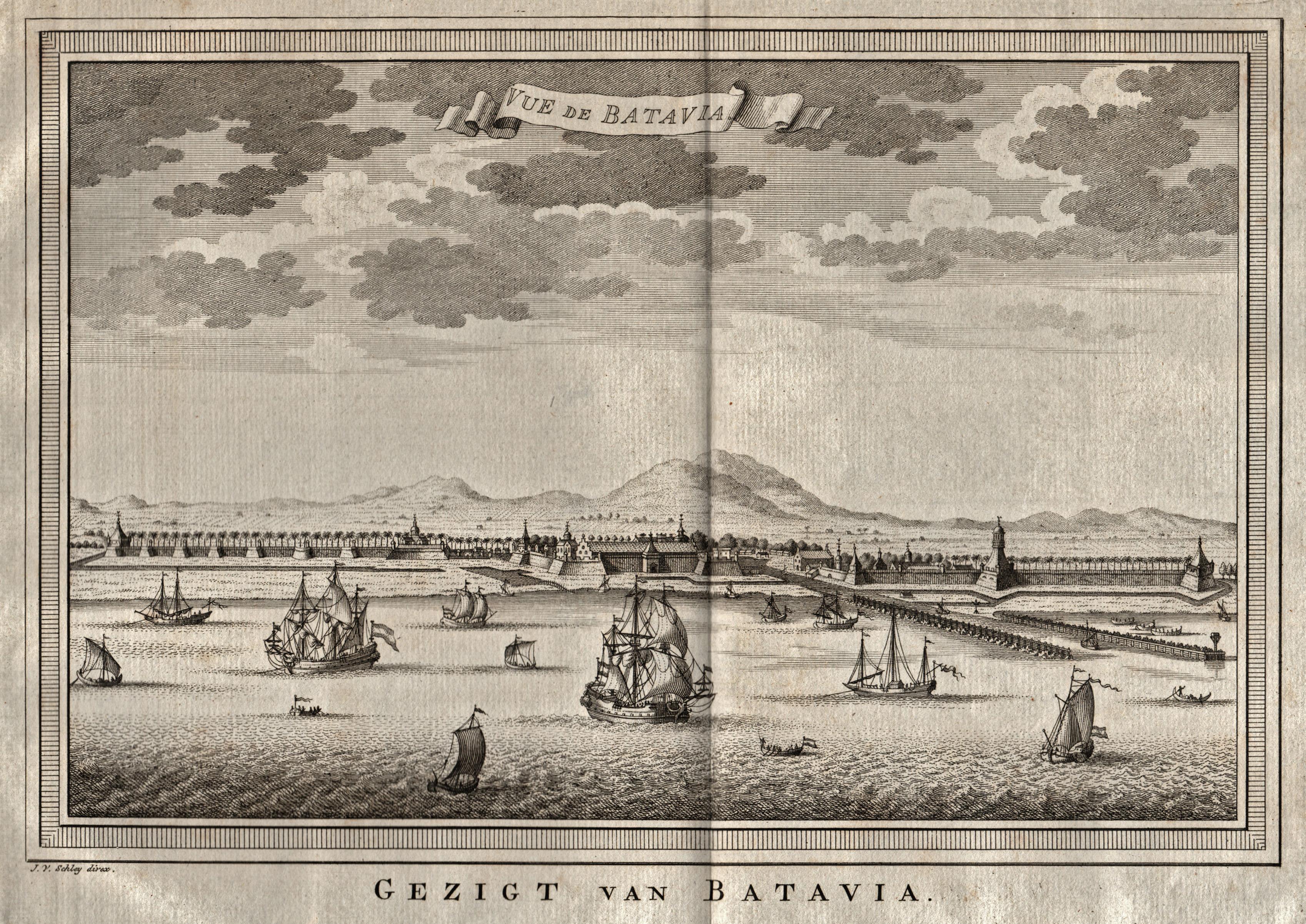 "Gesamtans., aus halber Vogelschau, ""Vue de Batavia: Indonesien ( Indonesia"