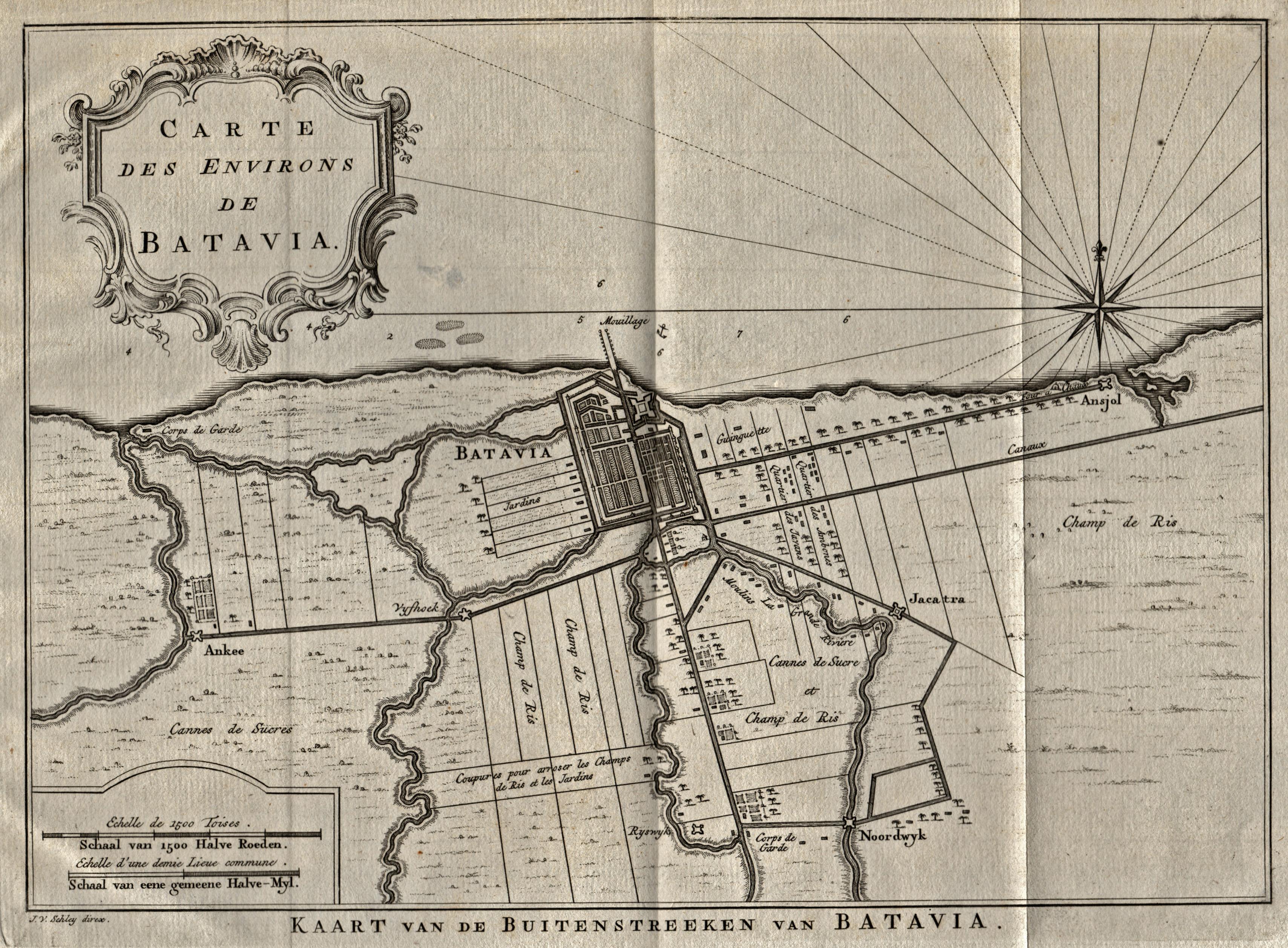 """Umgebungskarte, """"Carte des environs de Batavia. -: Indonesien ( Indonesia"""