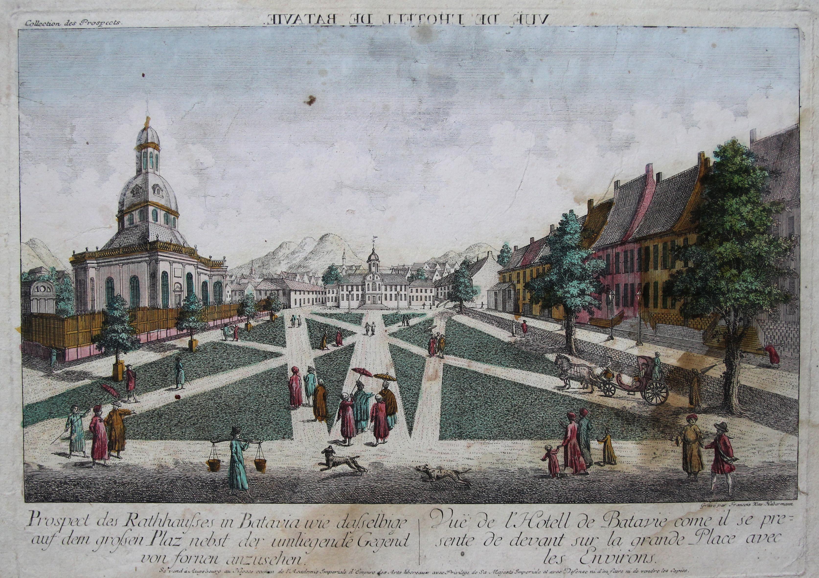 """TA., Rathaus, """"Prospect des Rathhausses in Batavia: Indonesien ( Indonesia"""