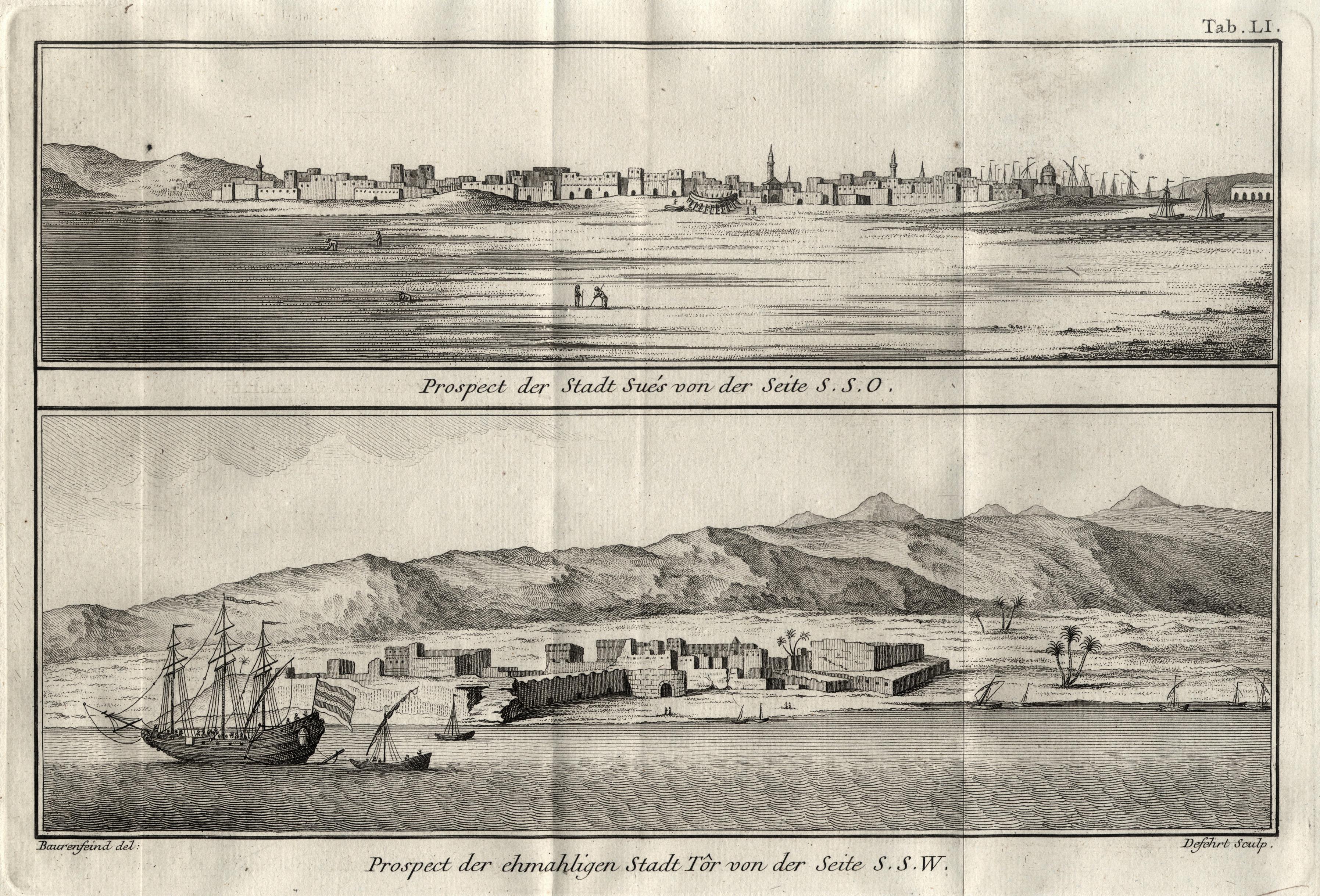"""Zwei Ansichten, """"Prospect der Stadt Sués von: Ägypten ( Egypt"""