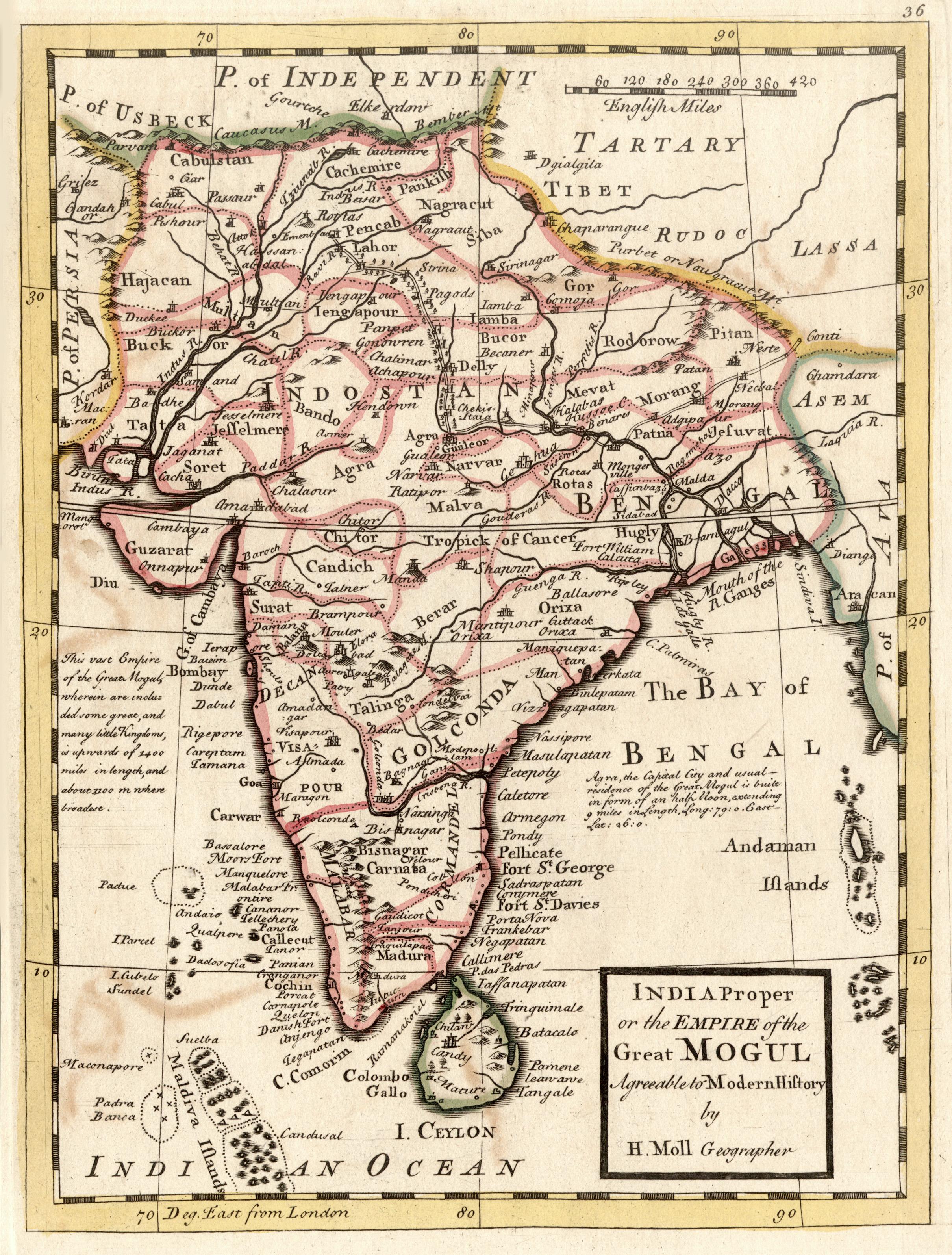 """Kst.- Karte, v. H. Moll """" India: Indien ( India"""