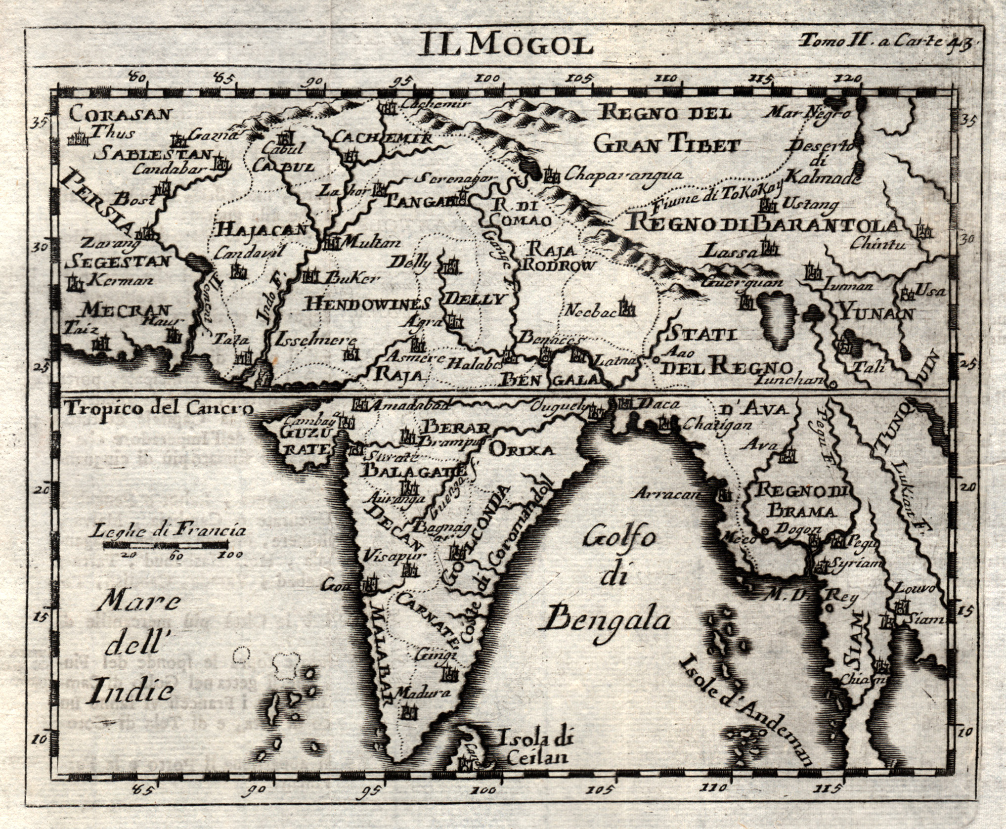 Kst.- Karte, aus de Chevigny und de: Indien ( India
