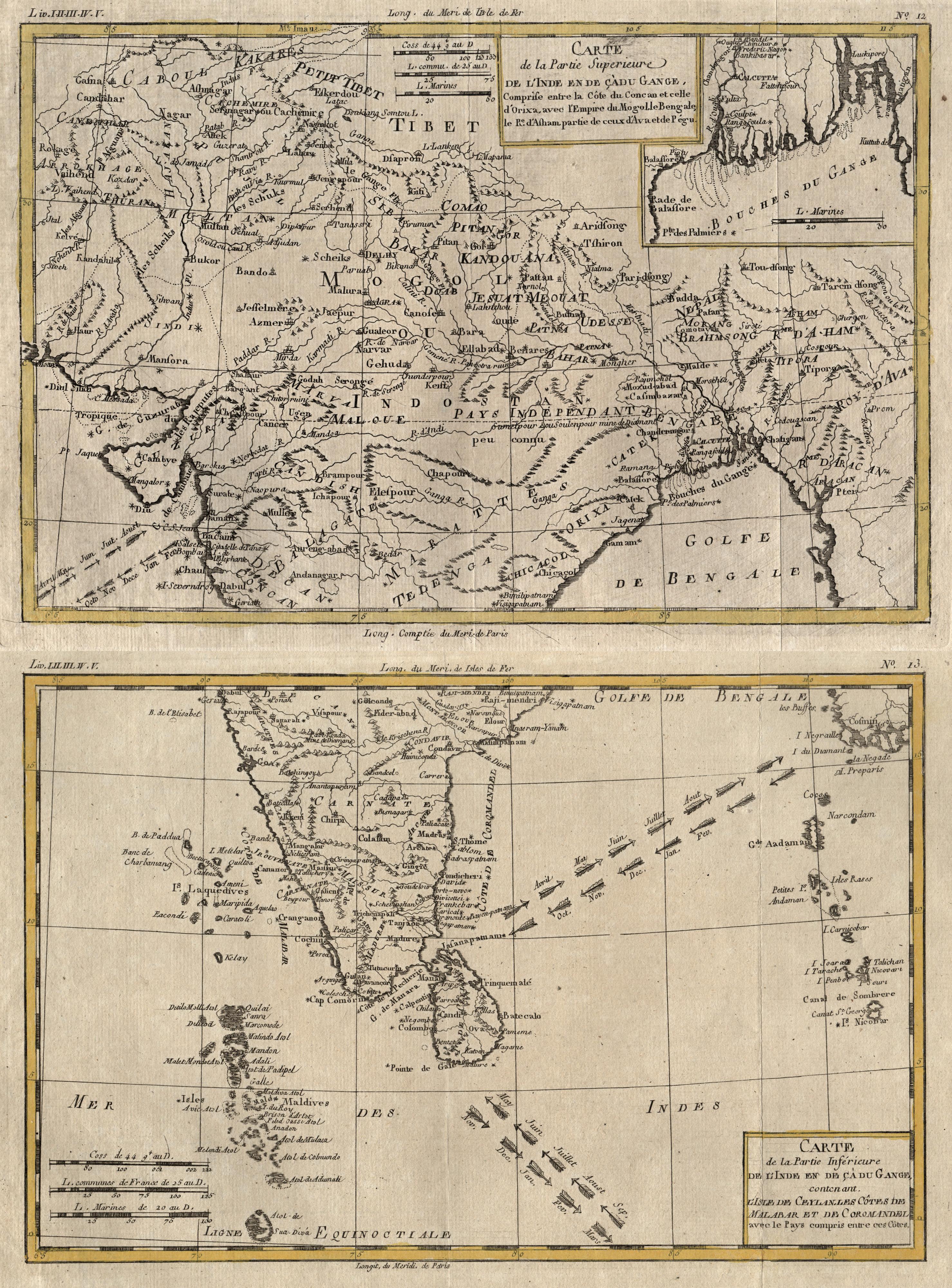 Kst.- Karte, in 2 Blatt v. R.: Indien ( India