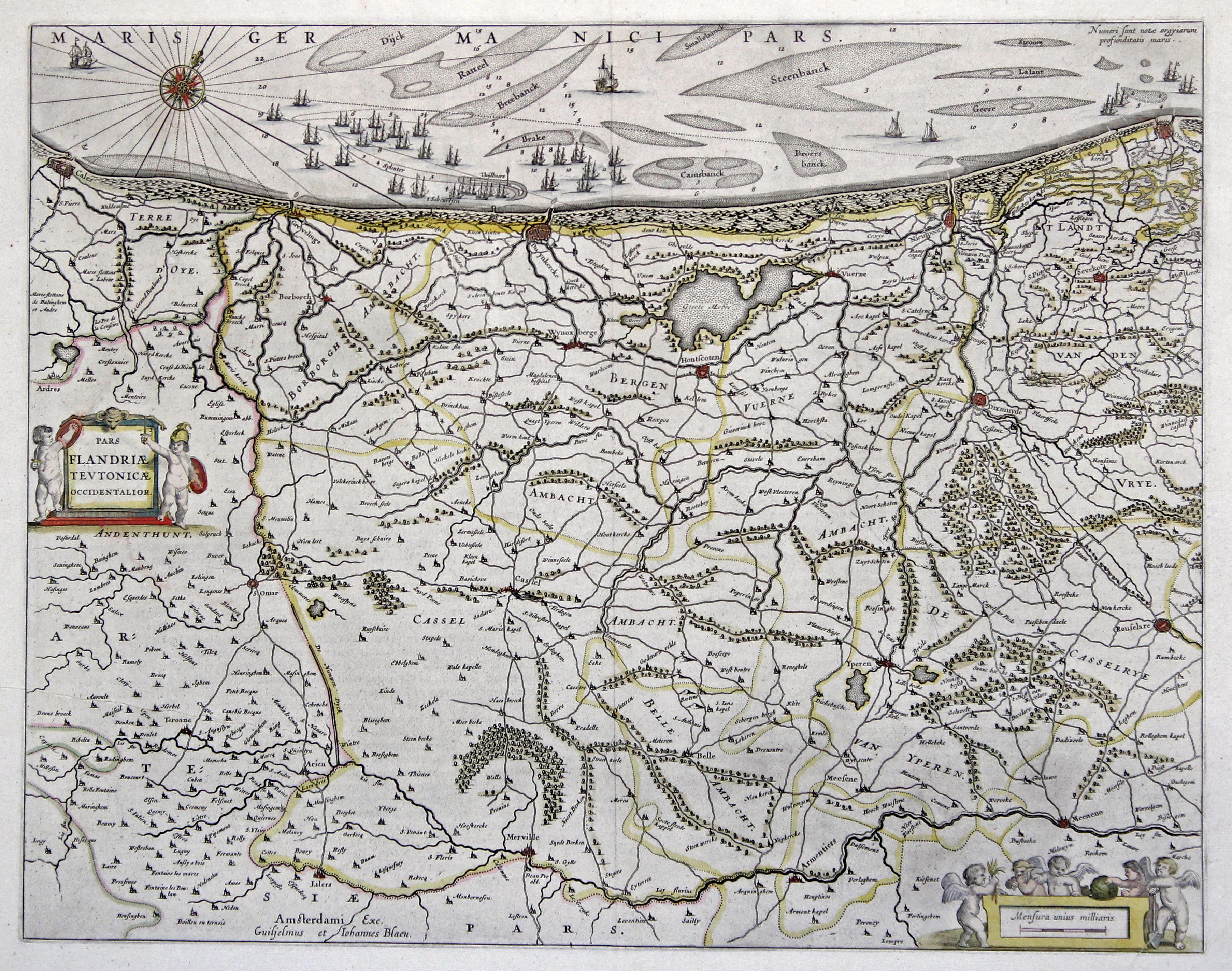 """Kst.- Karte, b. Guil. Blaeu, """"Pars Flandriae: Flandern ( Vlaanderen"""