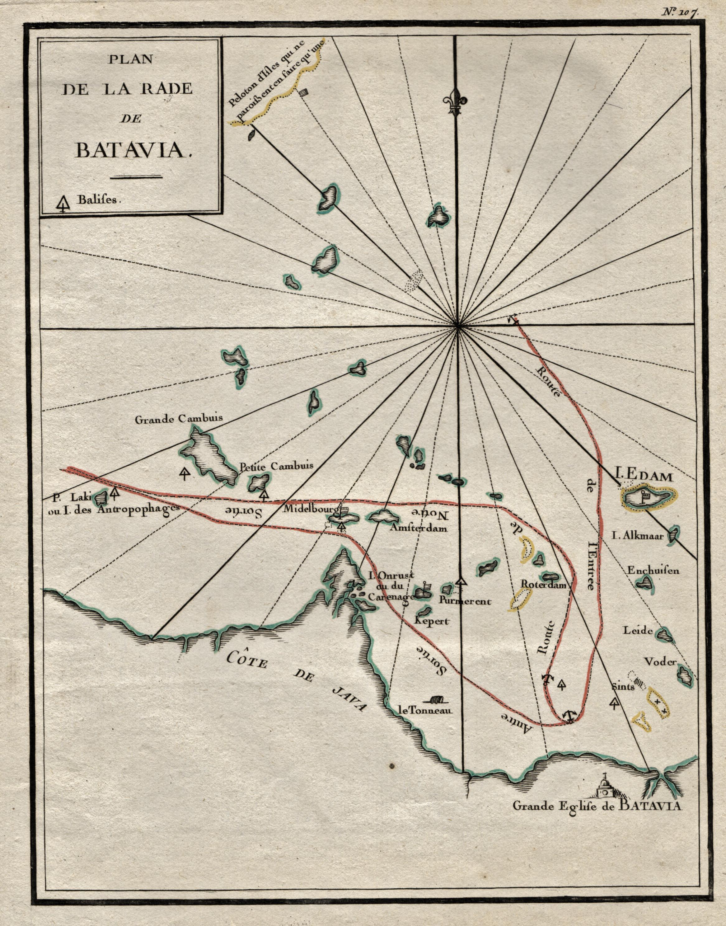 """Umgebung. """"Plan de la Rade de Batavia"""".: Indonesien ( Indonesia"""