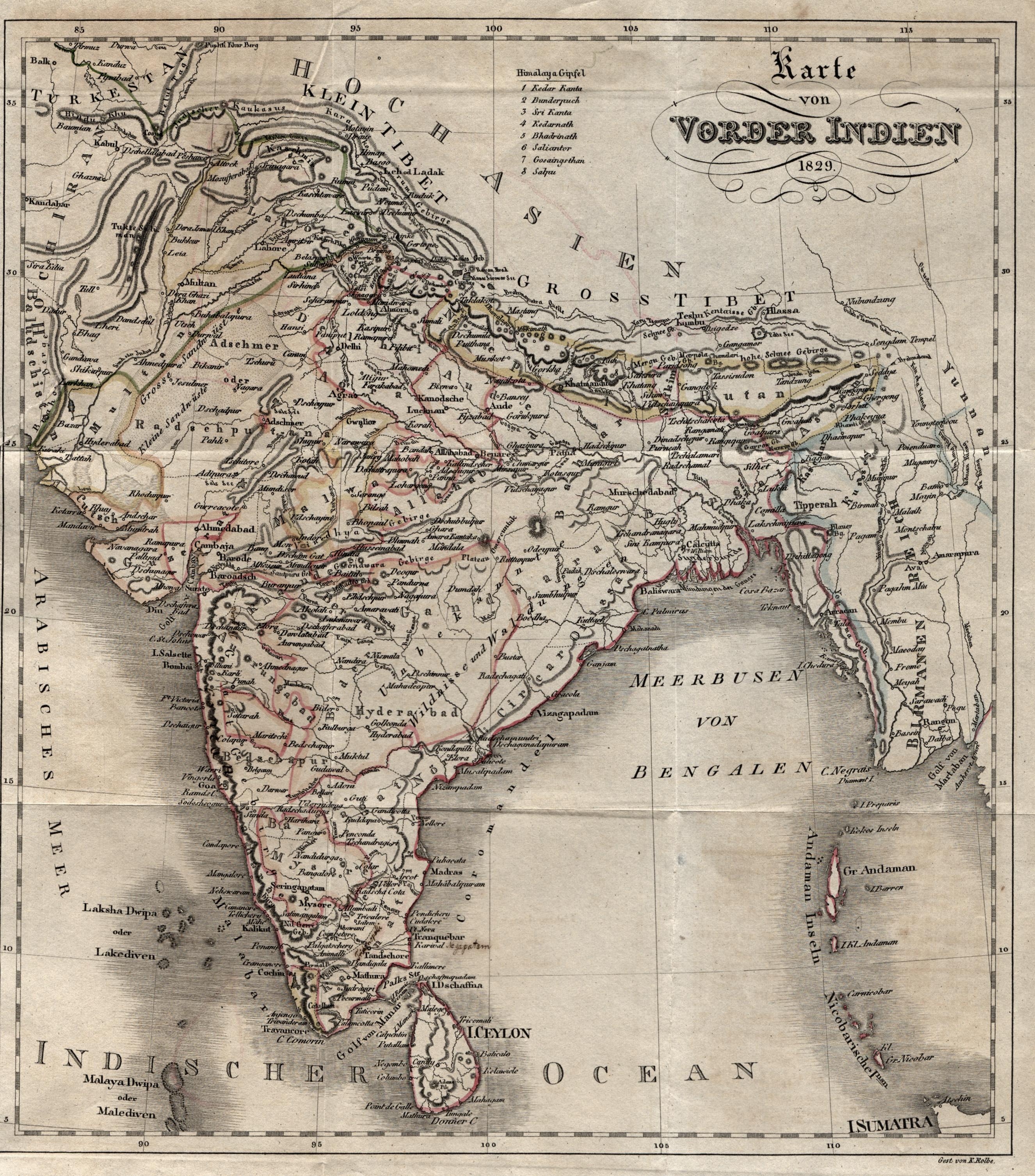 """Kst.- Karte, v. Kolbe, """"Karte von Vorder: Indien ( India"""