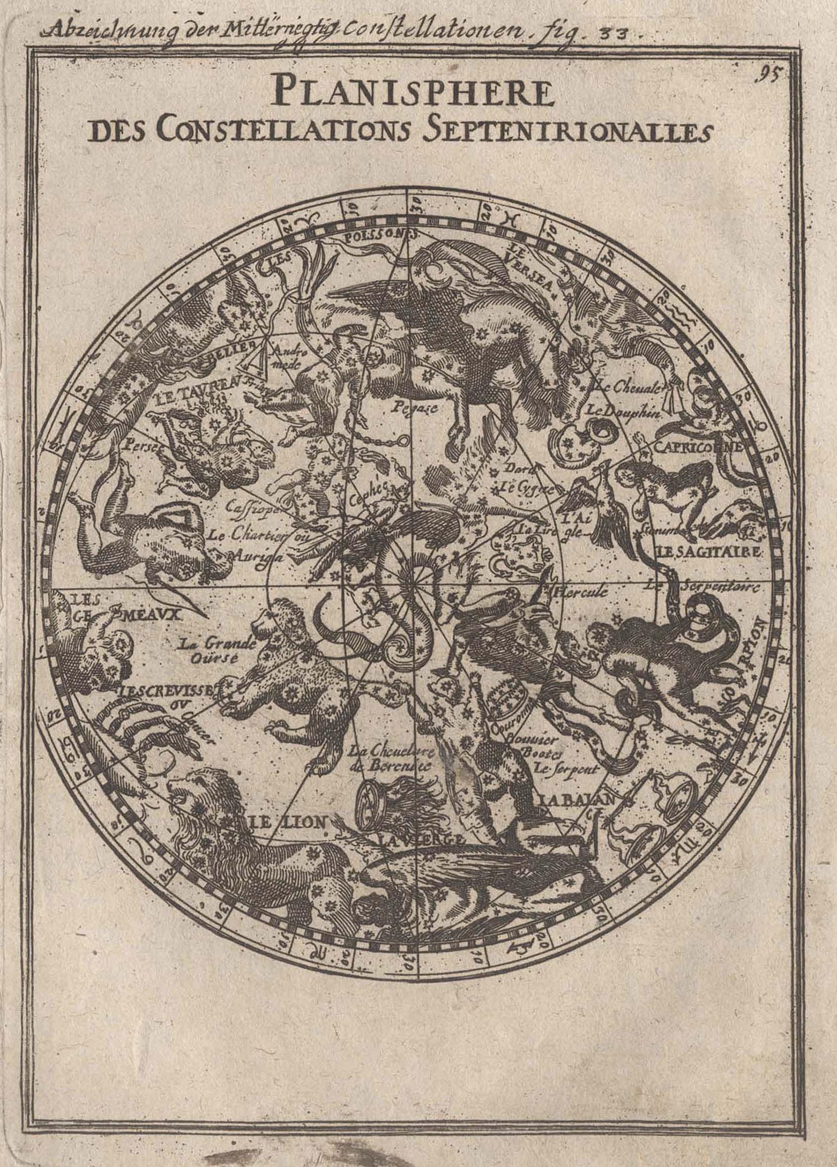 "Kst.- Karte, aus Mallet, ""Planisphere des Constellations: Sternkarte ( Celestial"