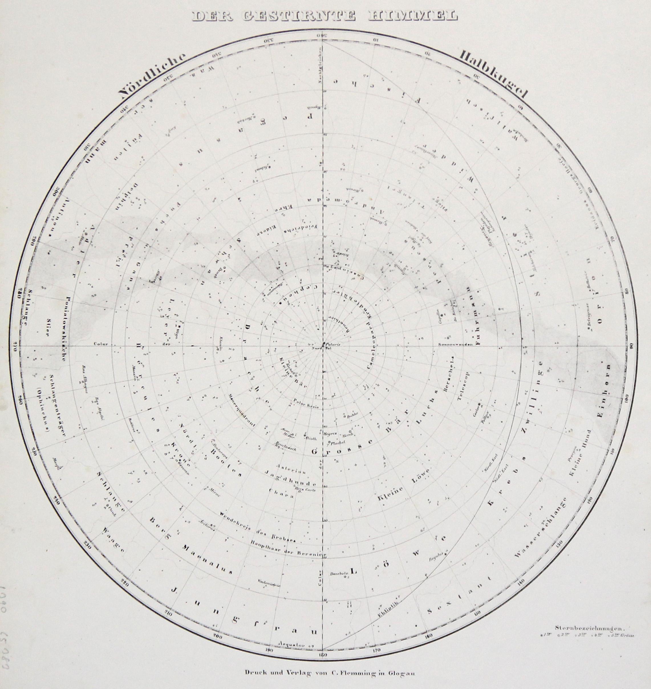 Litho.- Karte, v. C. Flemming in Glogau,: Sternkarte ( Celestial