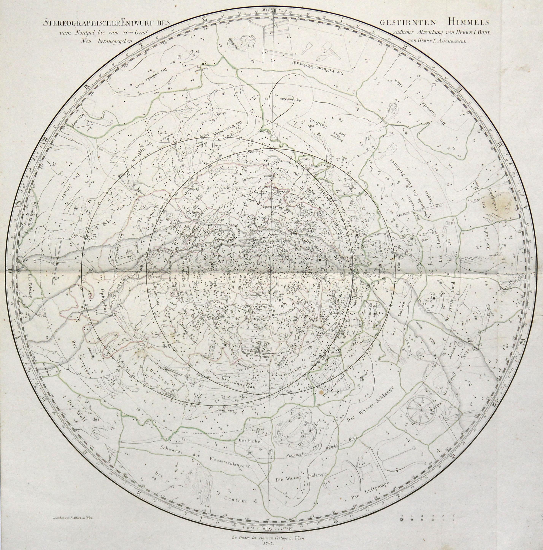 """Kst.- Karte, v. Alberti b. Schraembl, """"Stereographischer: Sternkarte ( Celestial"""