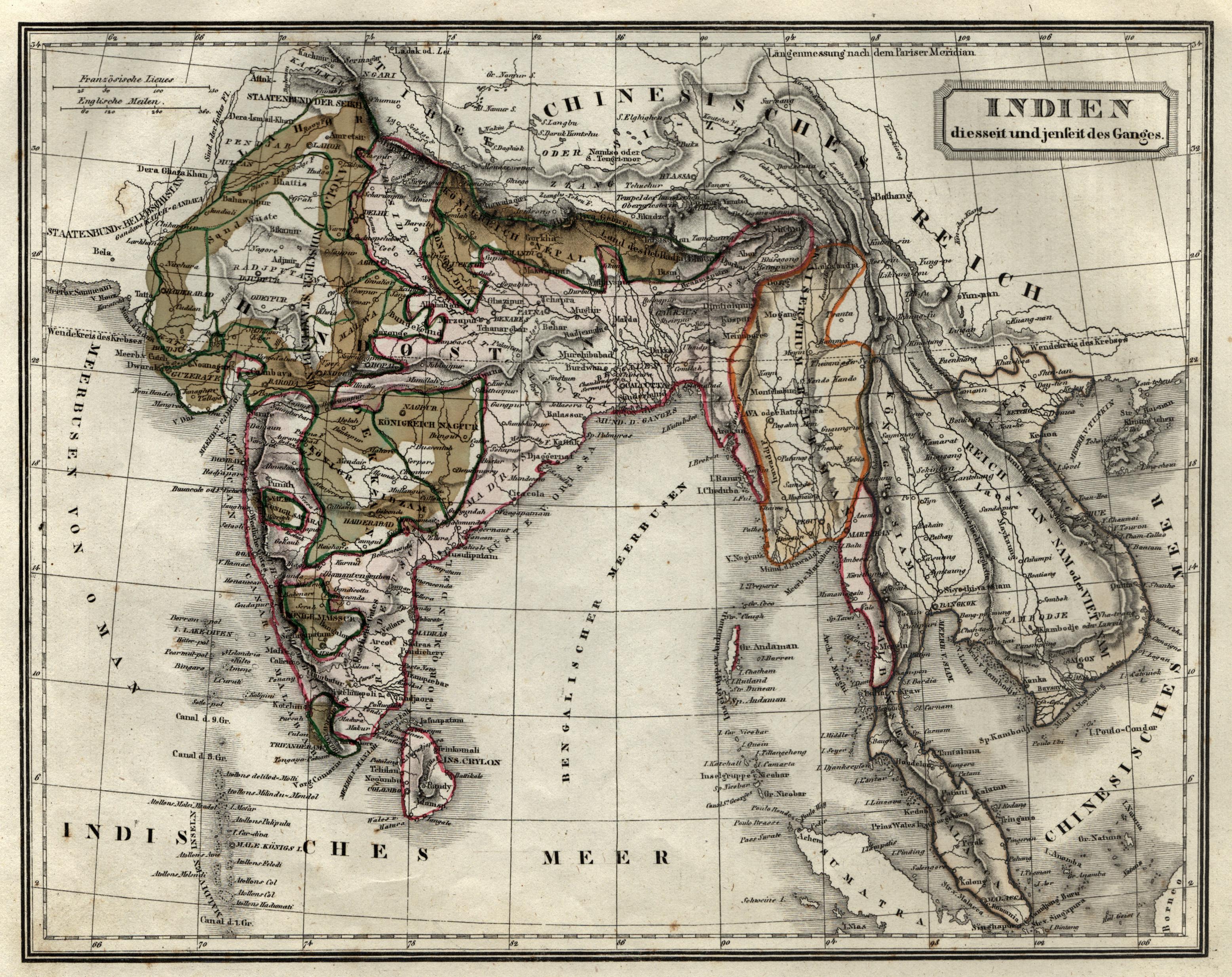 """Stst.- Karte, v. F. Biller, """"Indien diesseit: Indien ( India"""