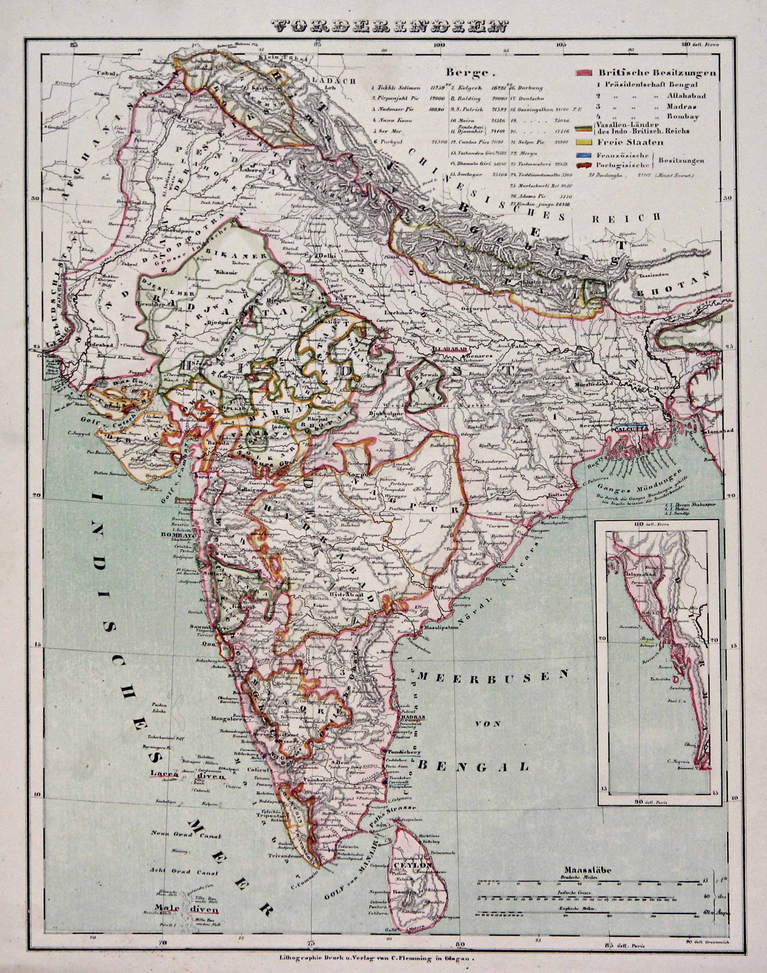 Litho.- Karte, m. farb. Tonplatte, b. C.: Indien ( India
