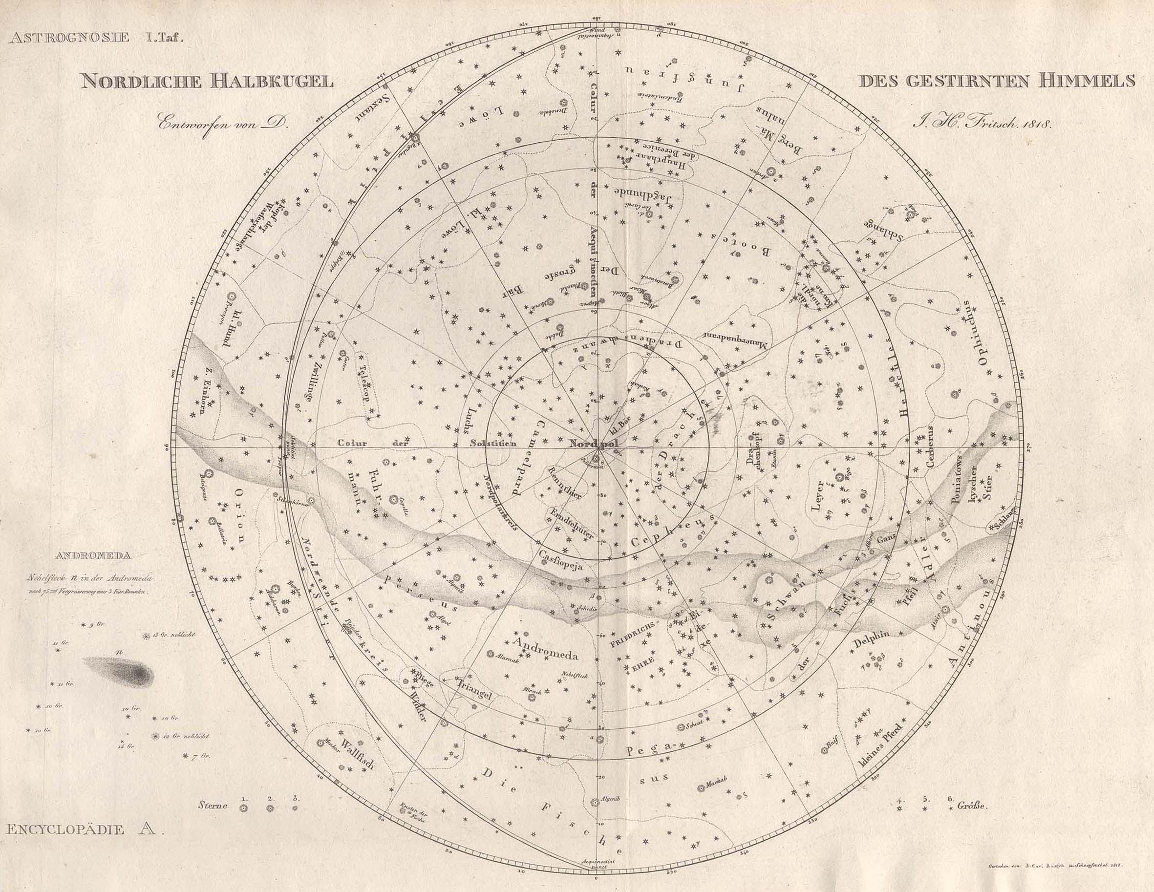 Kst.- Karte, v. Ausfeld n. D.J.H. Fritsch,: Sternkarte ( Celestial