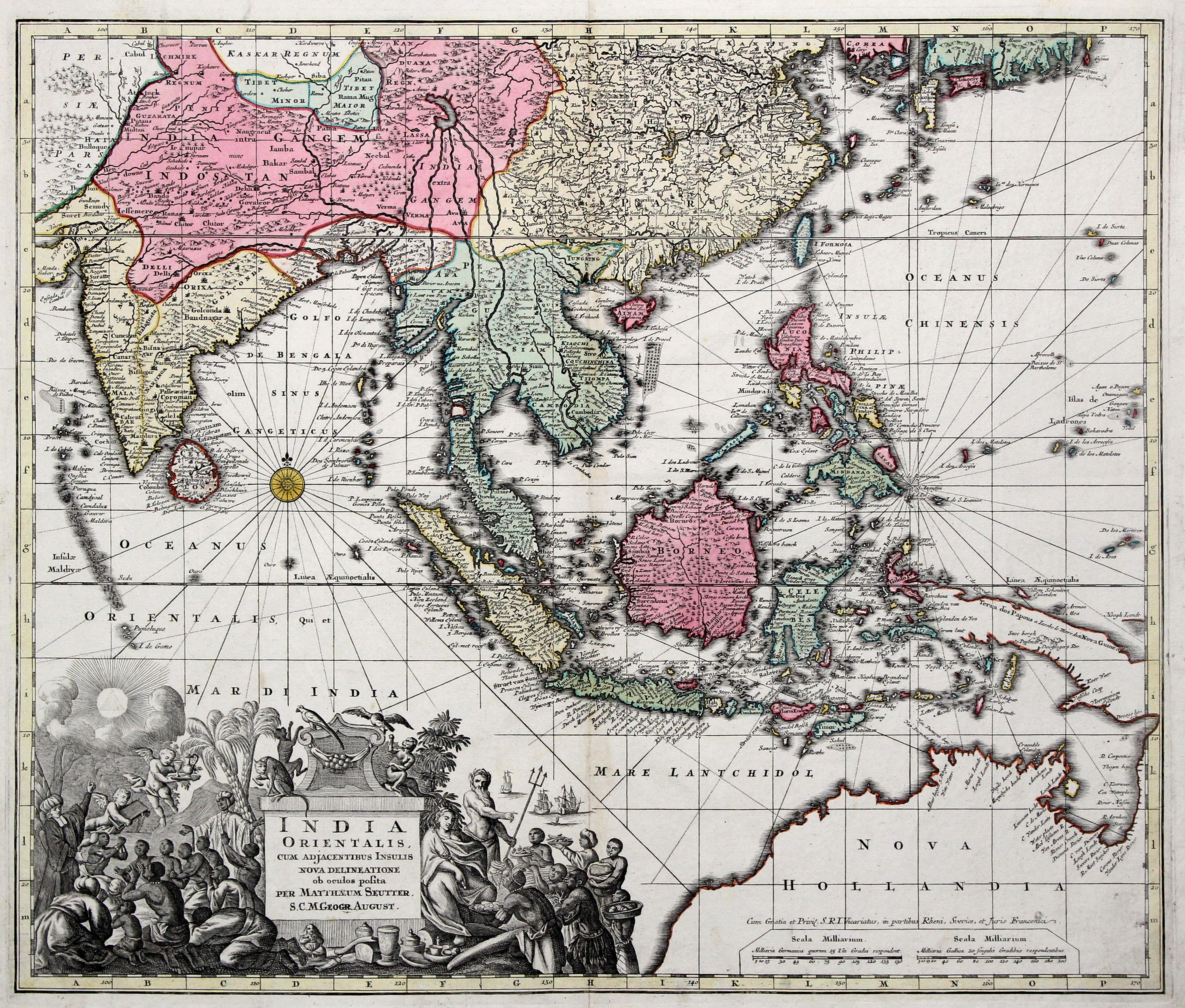 "Kst.- Karte, b. M. Seutter, ""India orientalis,: Indien - Südostasien"