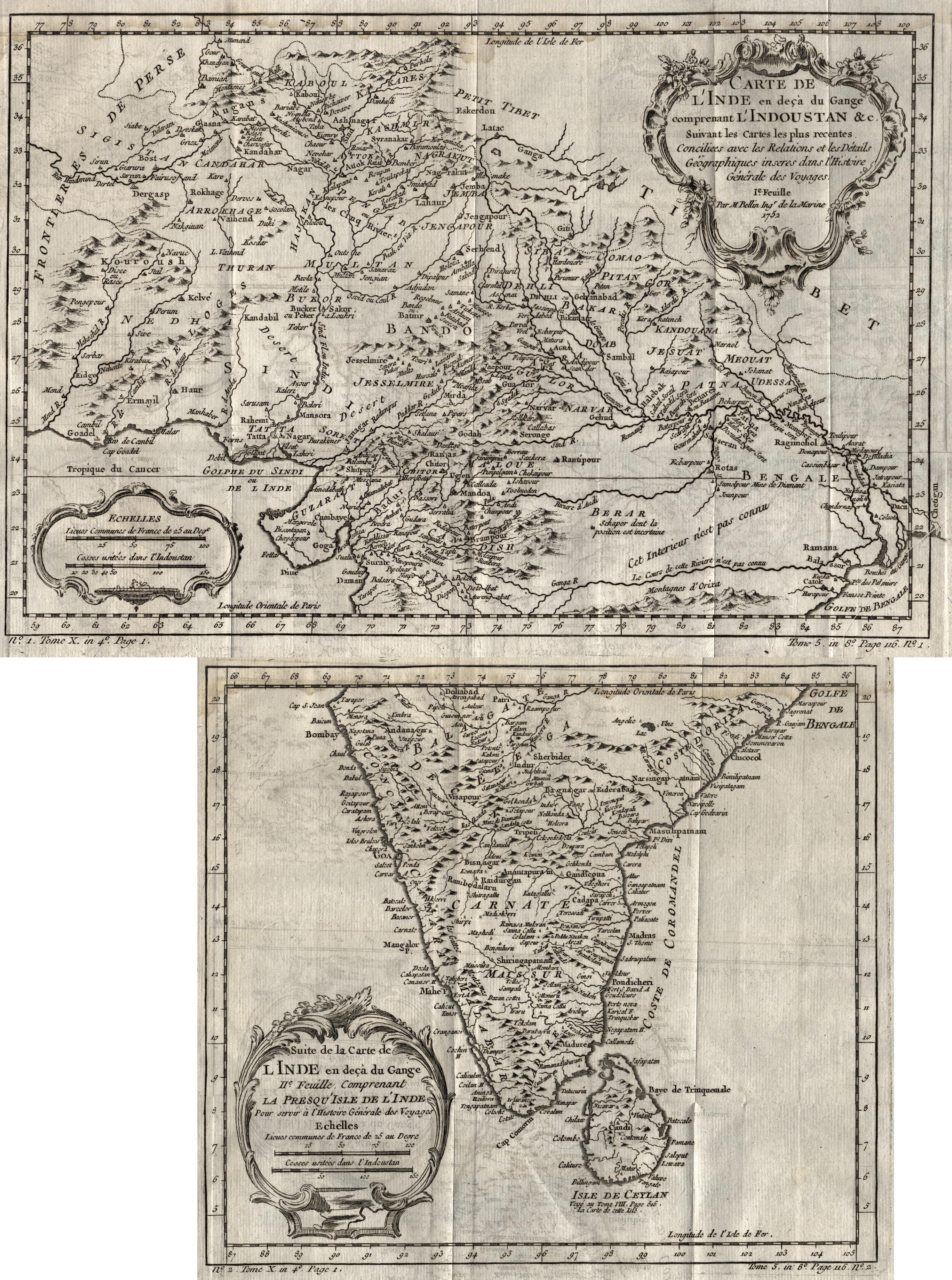 Kst.- Karte, in 2 Blatt n. Bellin,: Indien ( India