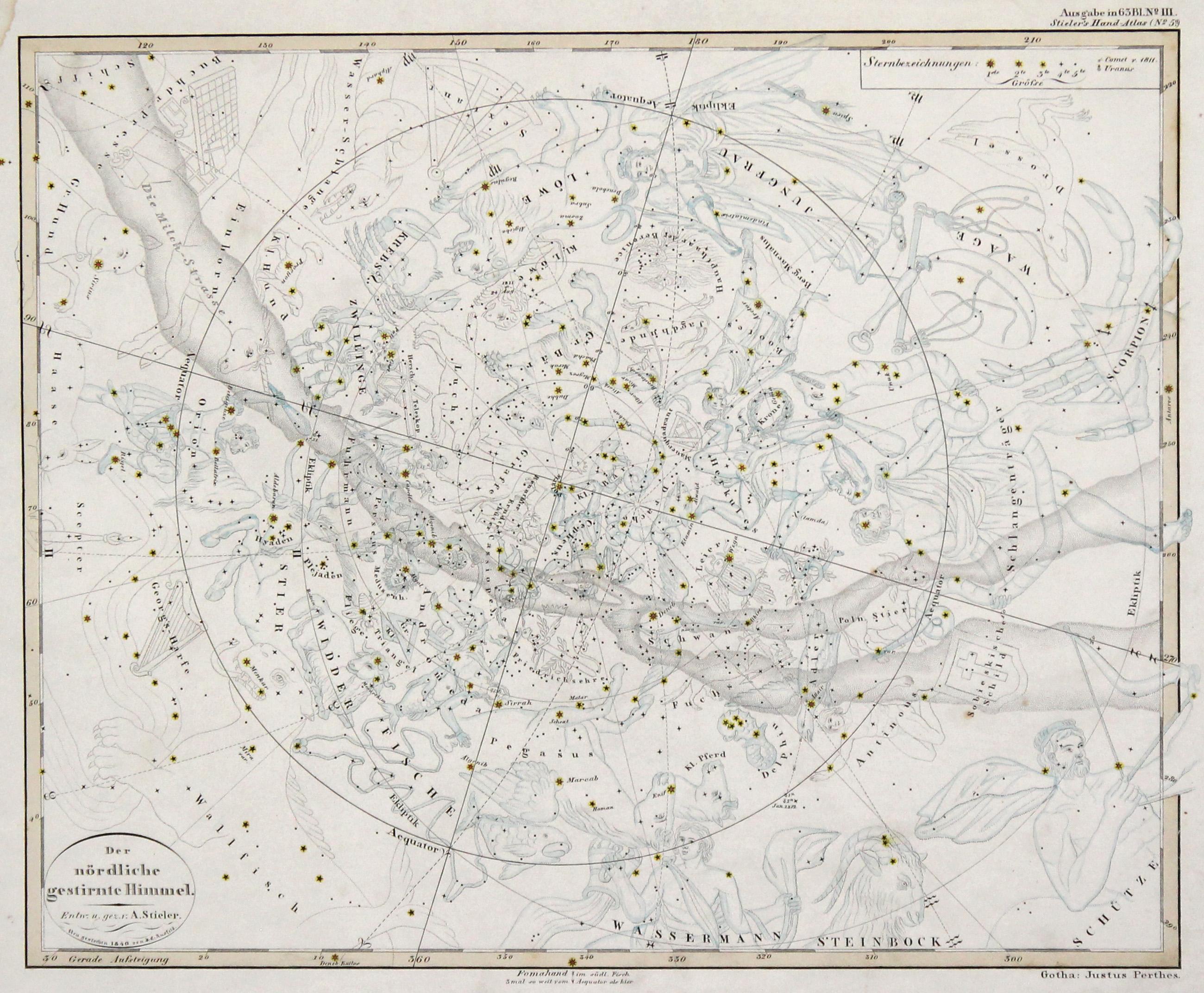 "Kst.- Karte, v. u. n. Stieler, ""Der: Sternkarte ( Celestial"