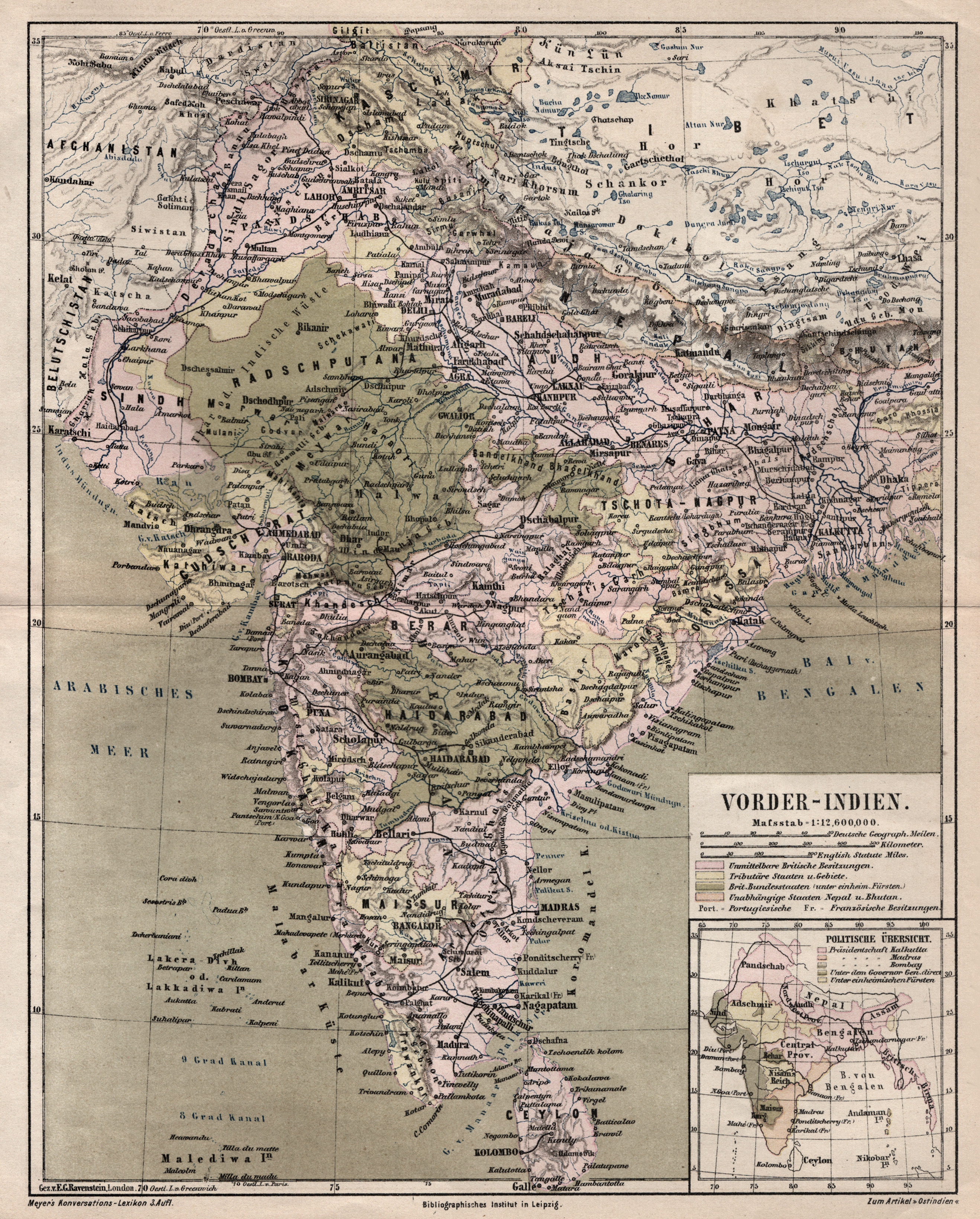 """Litho.- Karte, b. B.I., """"Vorder - Indien"""".: Indien ( India"""