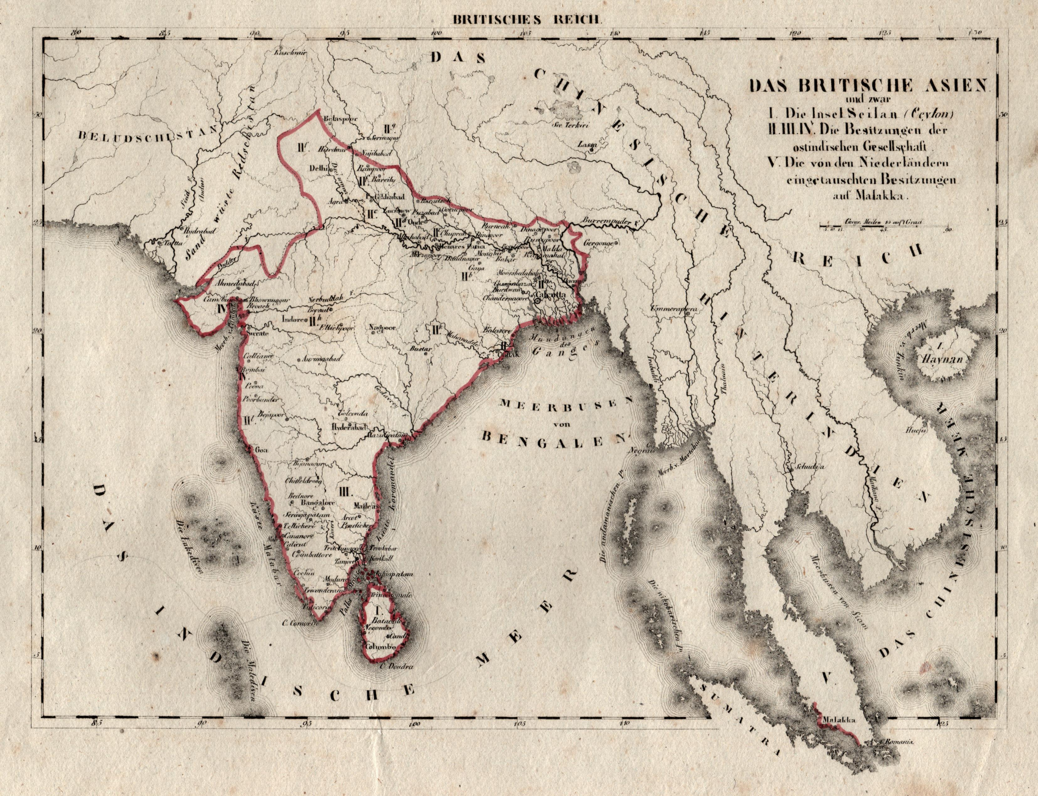 Litho.- Karte, aus Schliebens Atlas von Europa,: Indien ( India