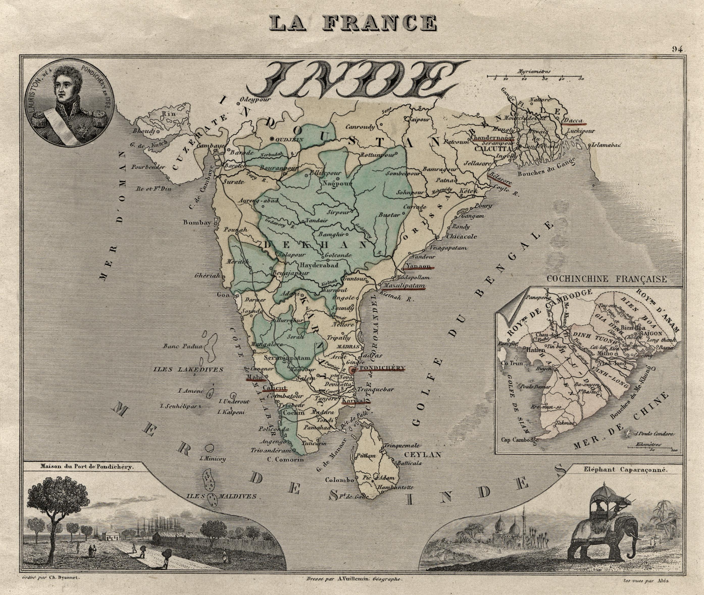 Litho.- Karte, von Ch. Dyonnet nach Vuillemin,: Indien ( India