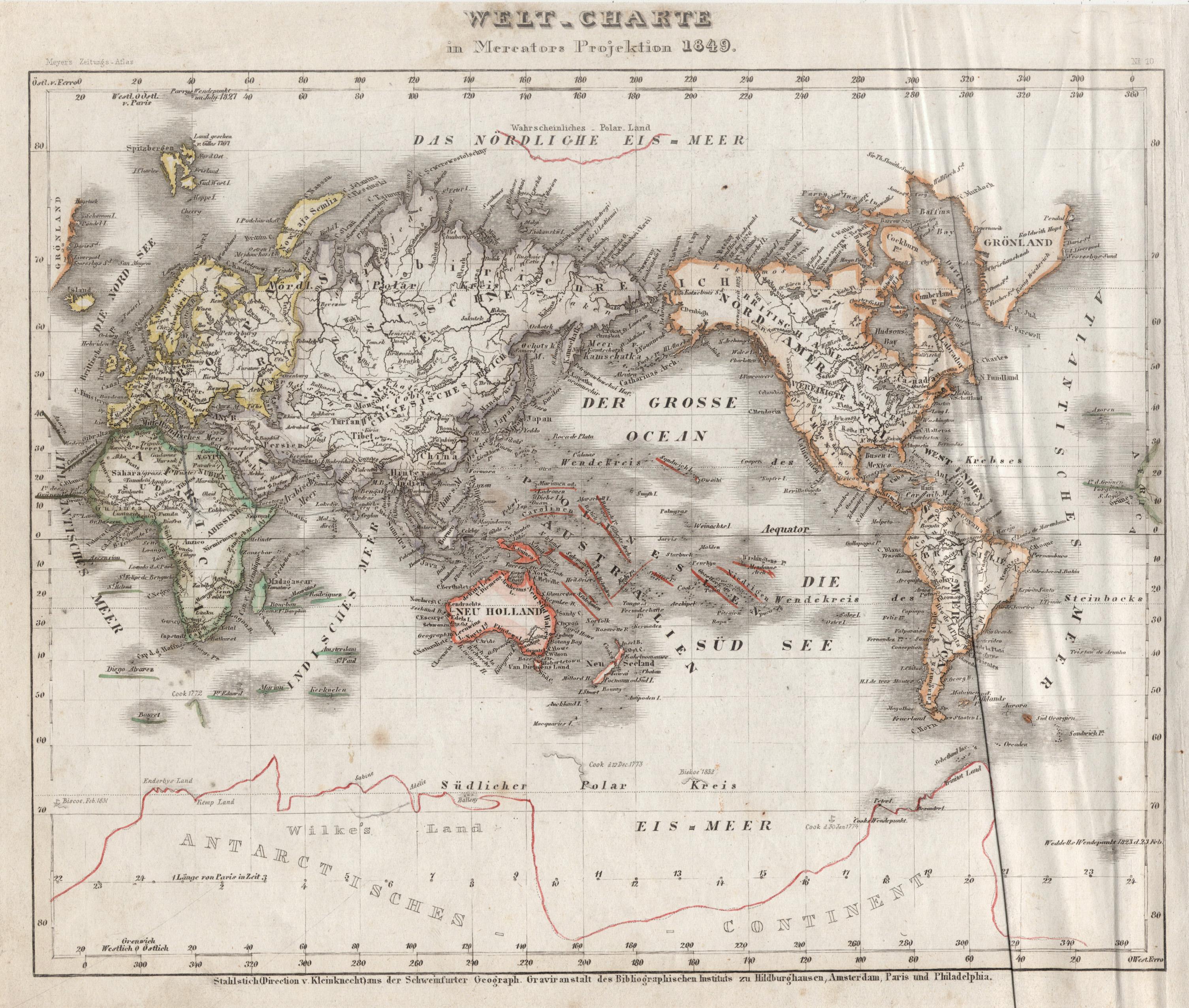 """Stst.- Karte, b. B.I., """"Welt-Charte in Mercators: Weltkarte ( World"""